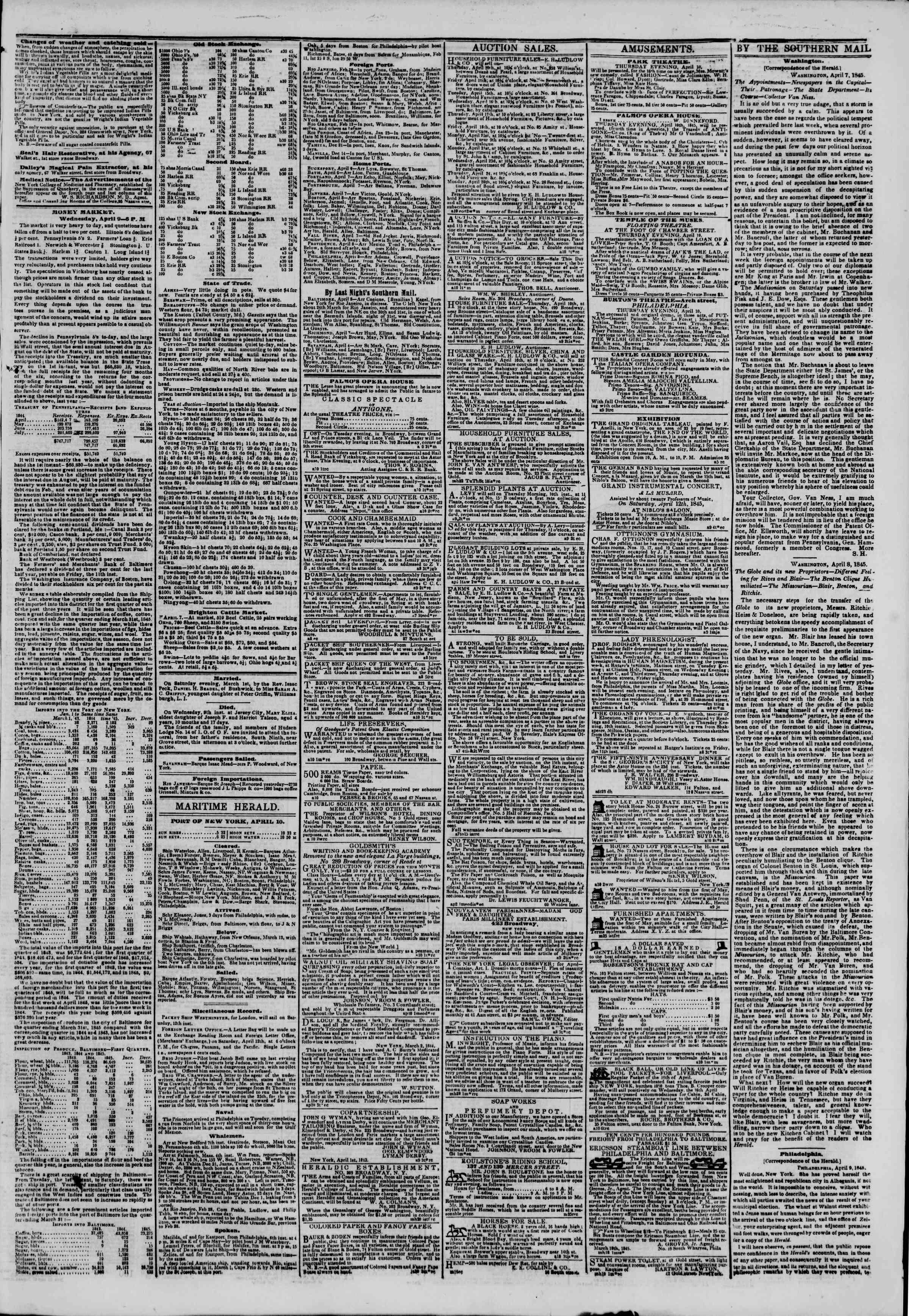 April 10, 1845 Tarihli The New York Herald Gazetesi Sayfa 3