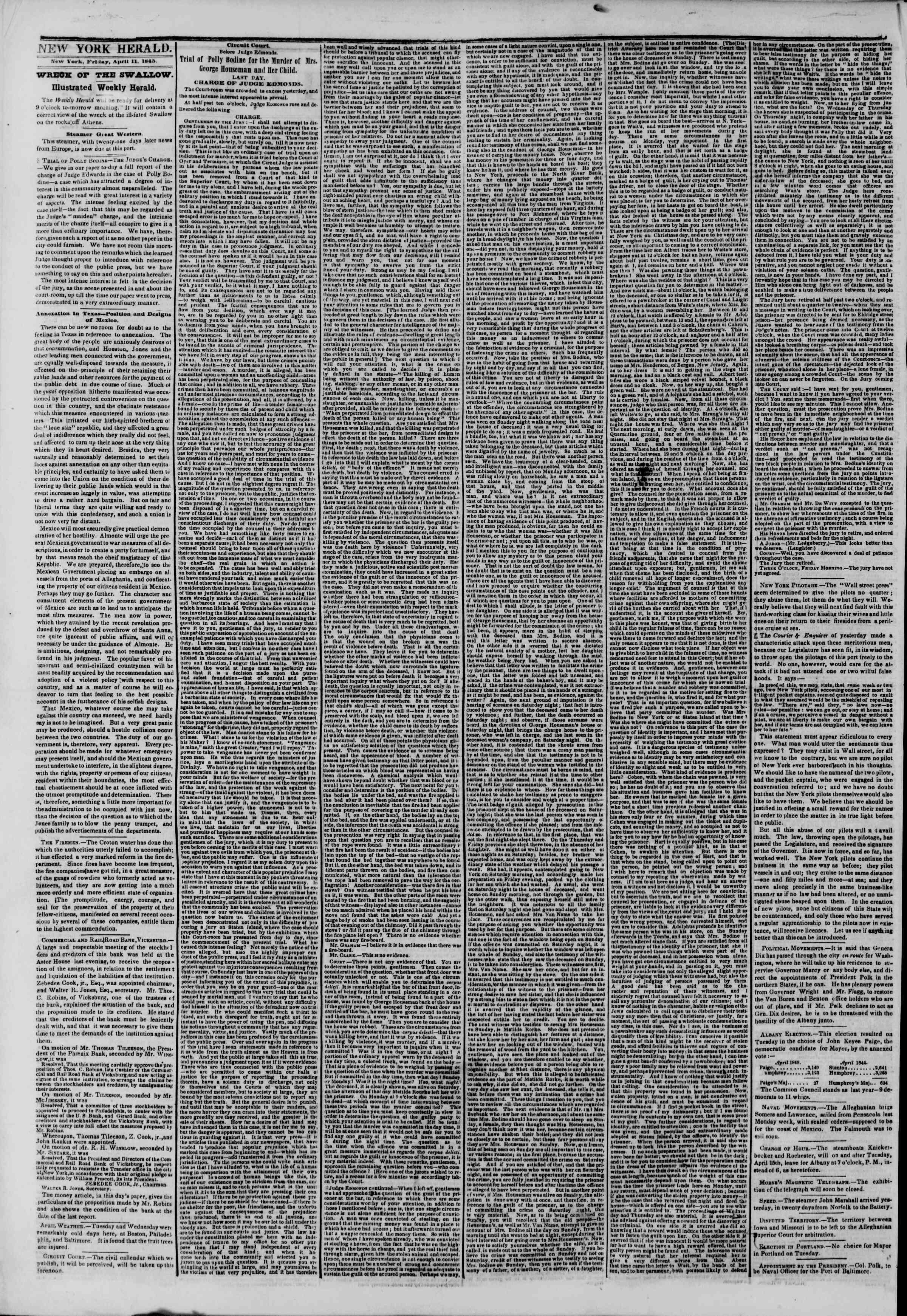 April 11, 1845 Tarihli The New York Herald Gazetesi Sayfa 2