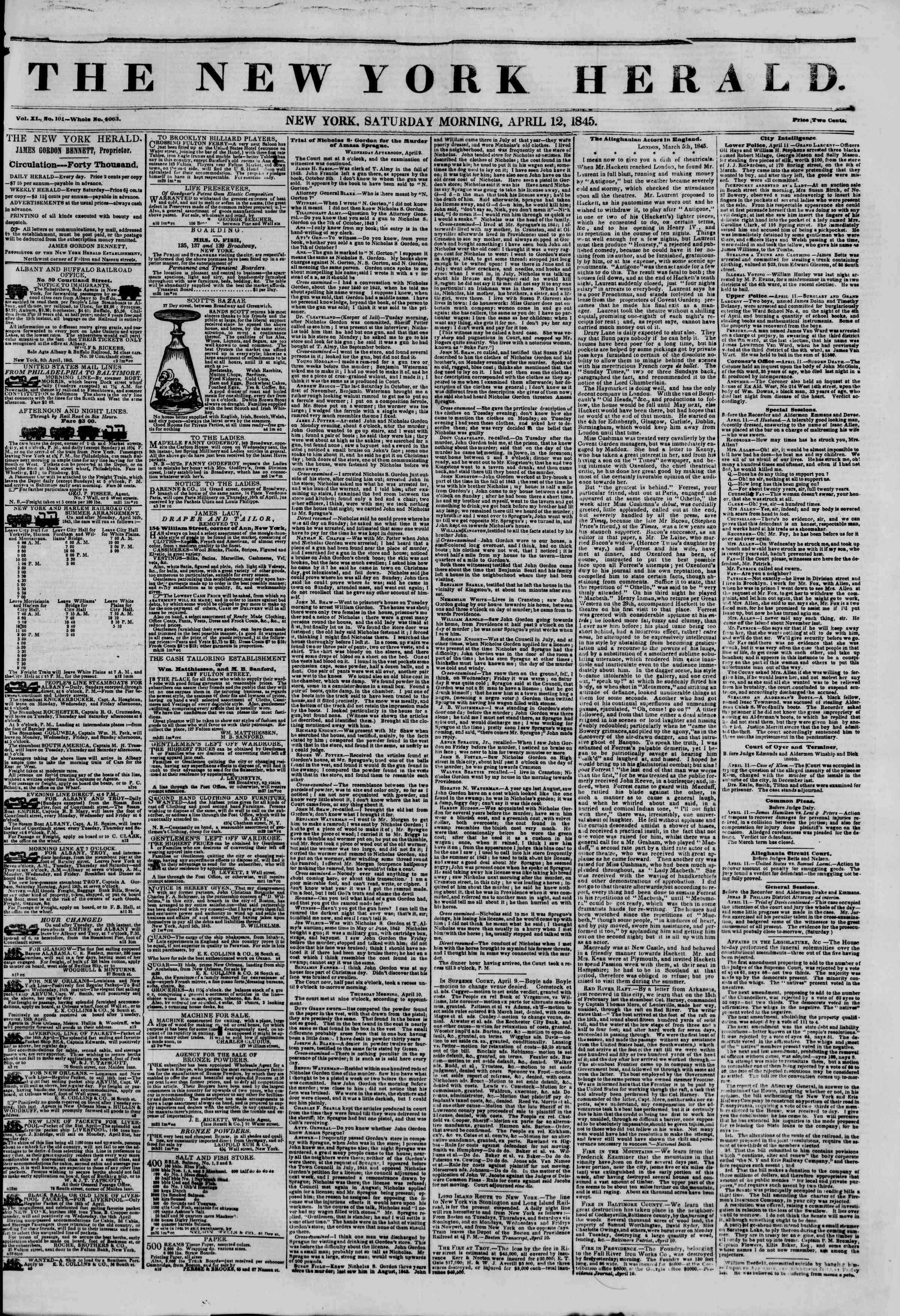Newspaper of The New York Herald dated April 12, 1845 Page 1
