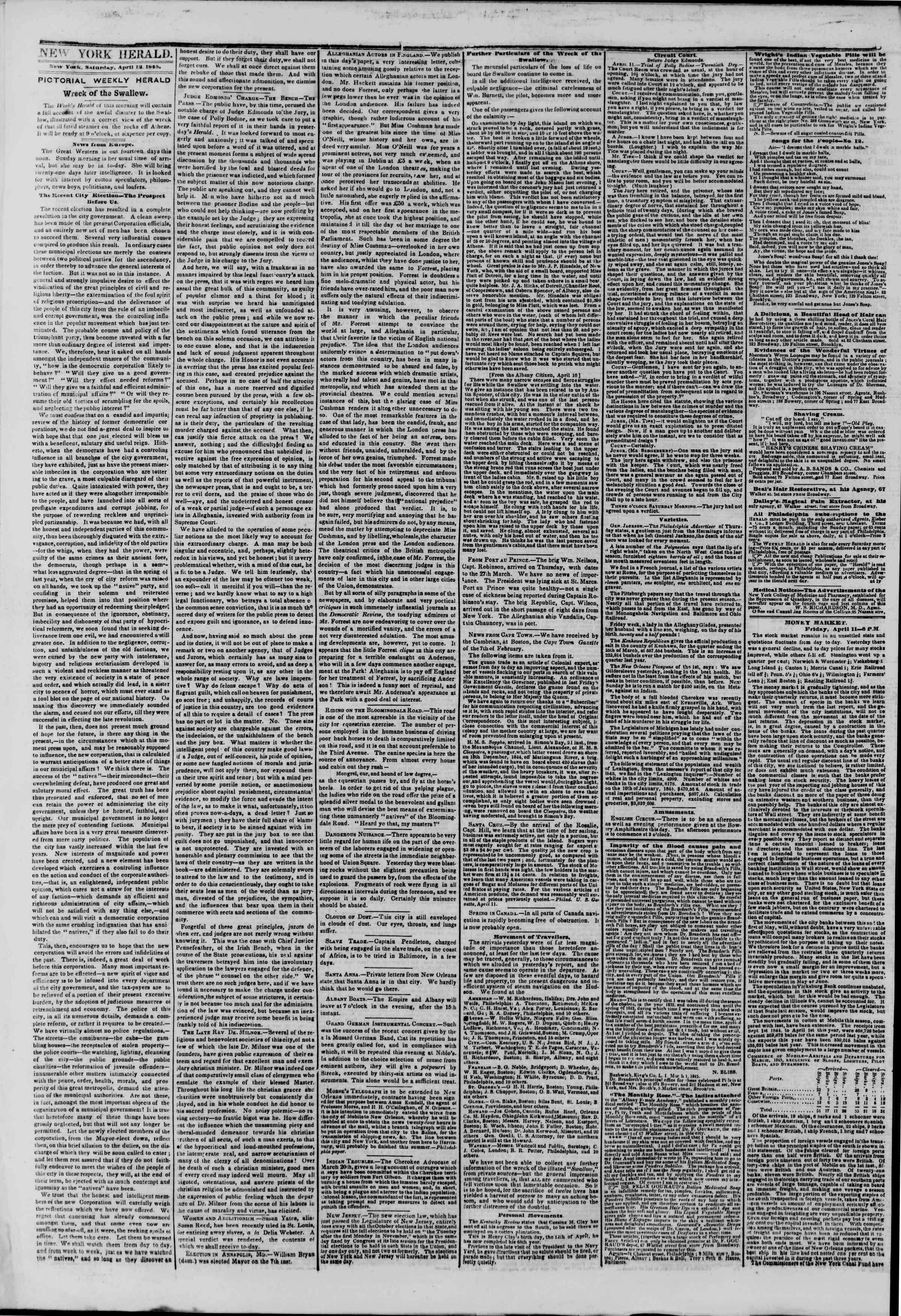 April 12, 1845 Tarihli The New York Herald Gazetesi Sayfa 2