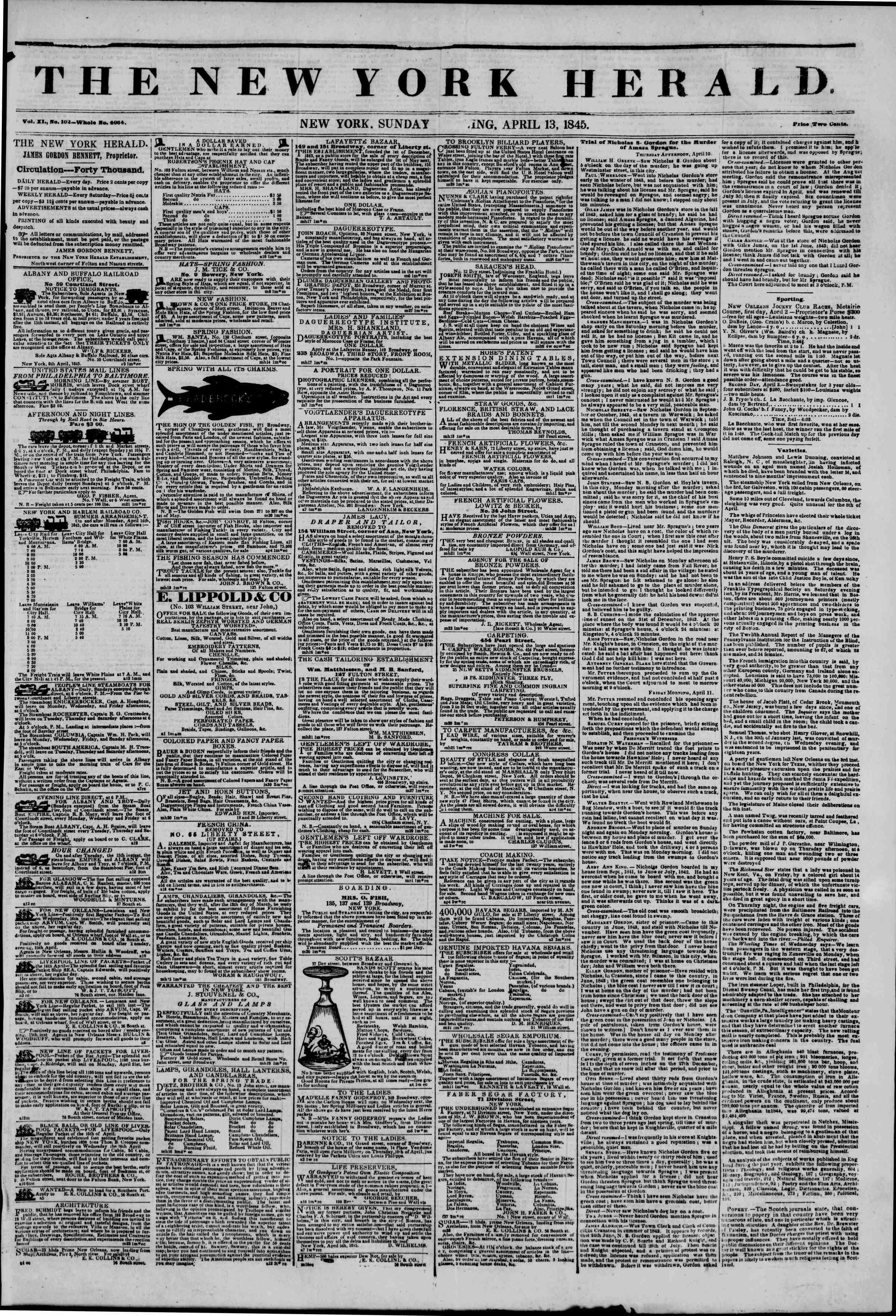 April 13, 1845 Tarihli The New York Herald Gazetesi Sayfa 1