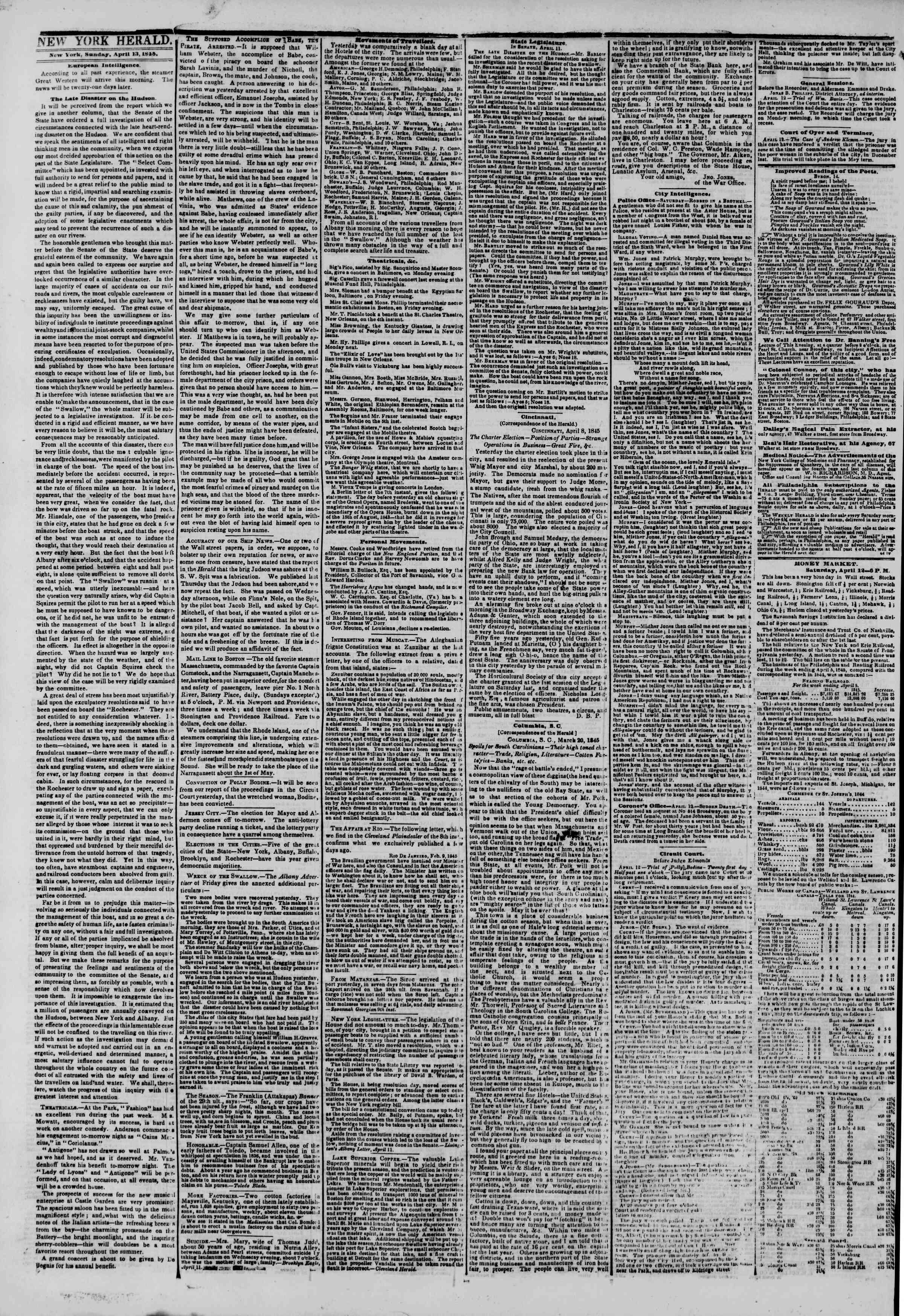 April 13, 1845 Tarihli The New York Herald Gazetesi Sayfa 2