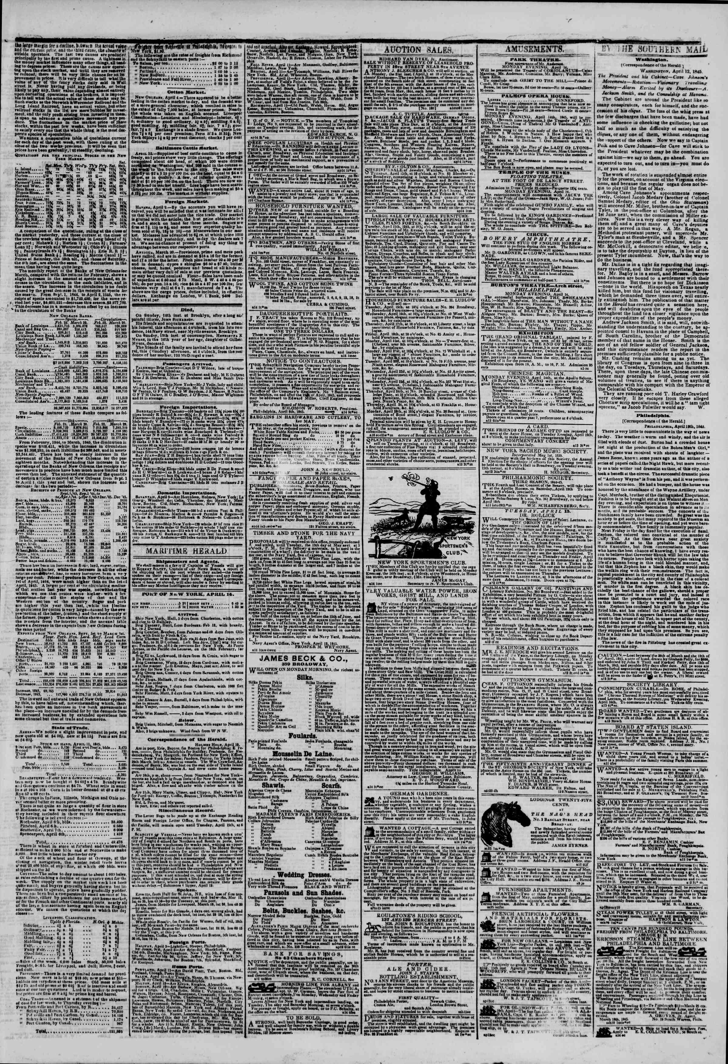 April 14, 1845 Tarihli The New York Herald Gazetesi Sayfa 3