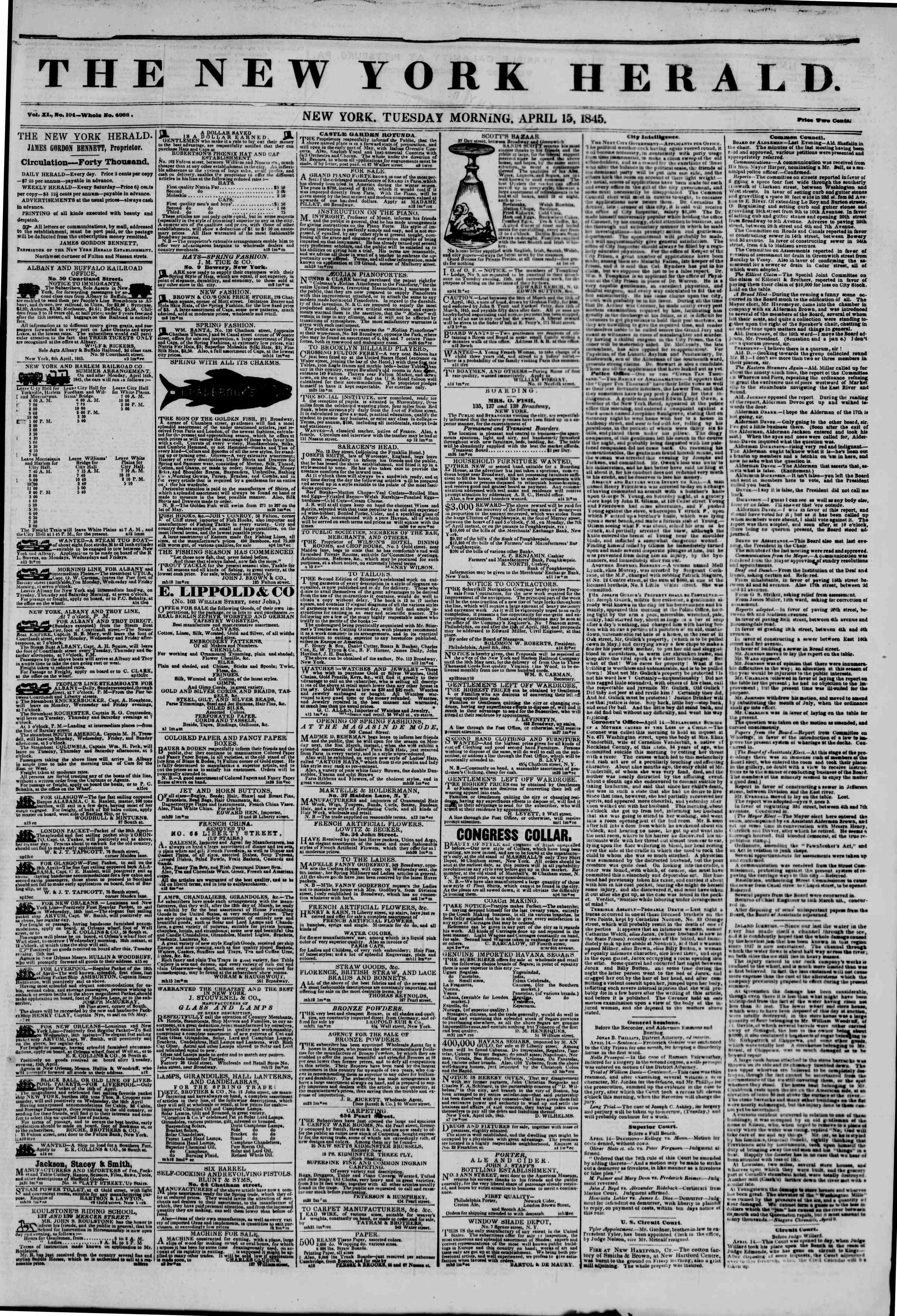 Newspaper of The New York Herald dated April 15, 1845 Page 1