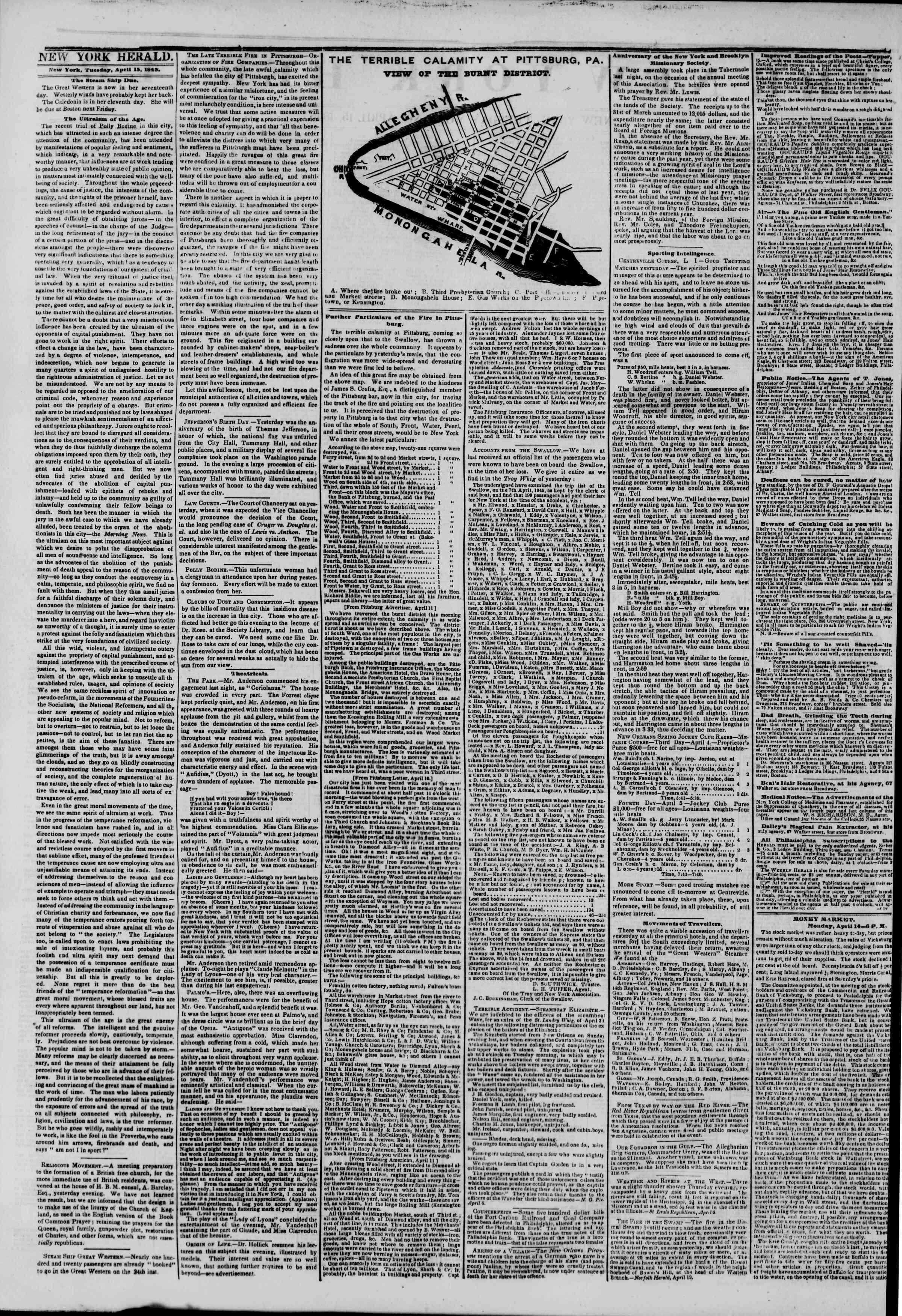 April 15, 1845 Tarihli The New York Herald Gazetesi Sayfa 2