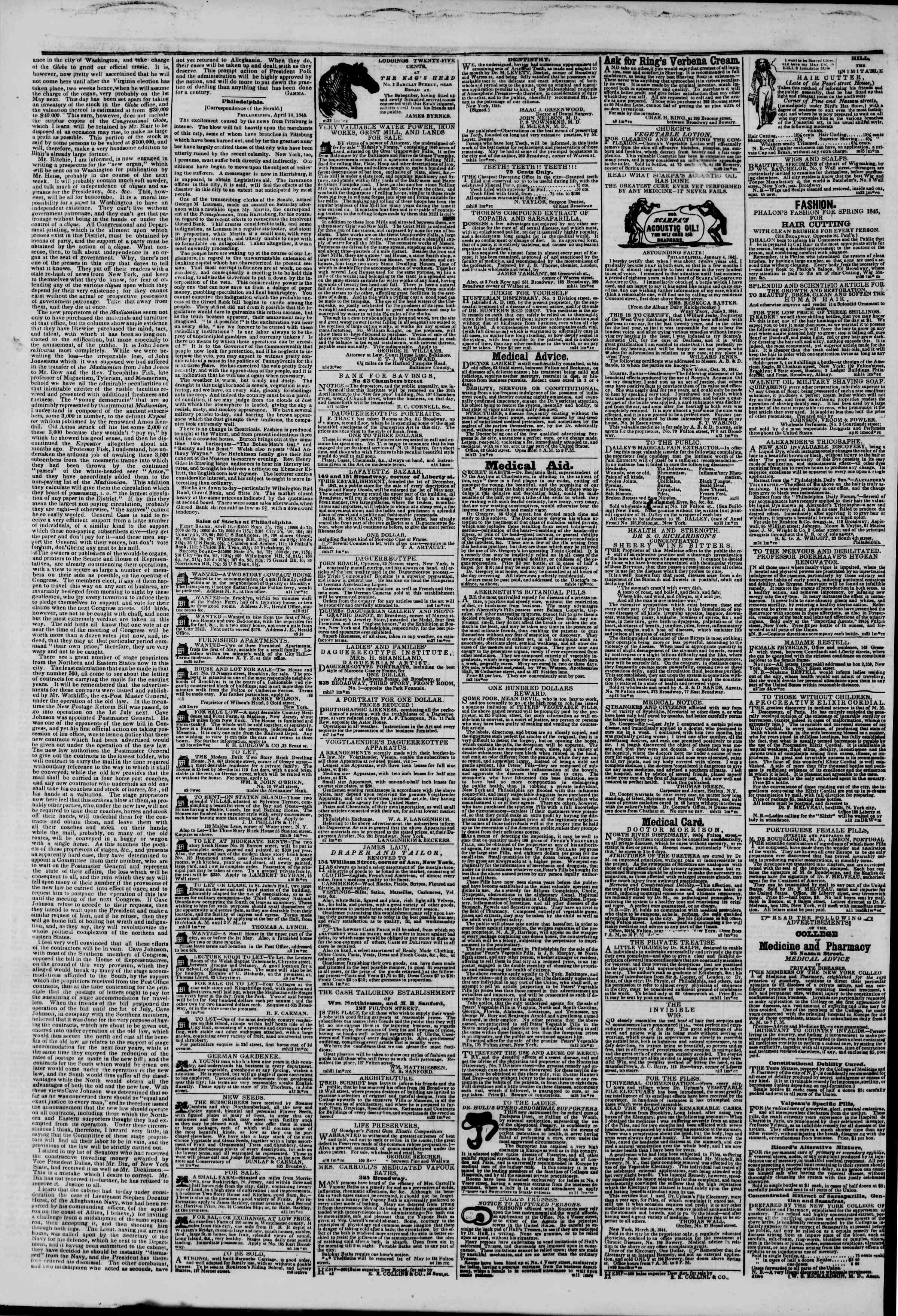 April 15, 1845 Tarihli The New York Herald Gazetesi Sayfa 4