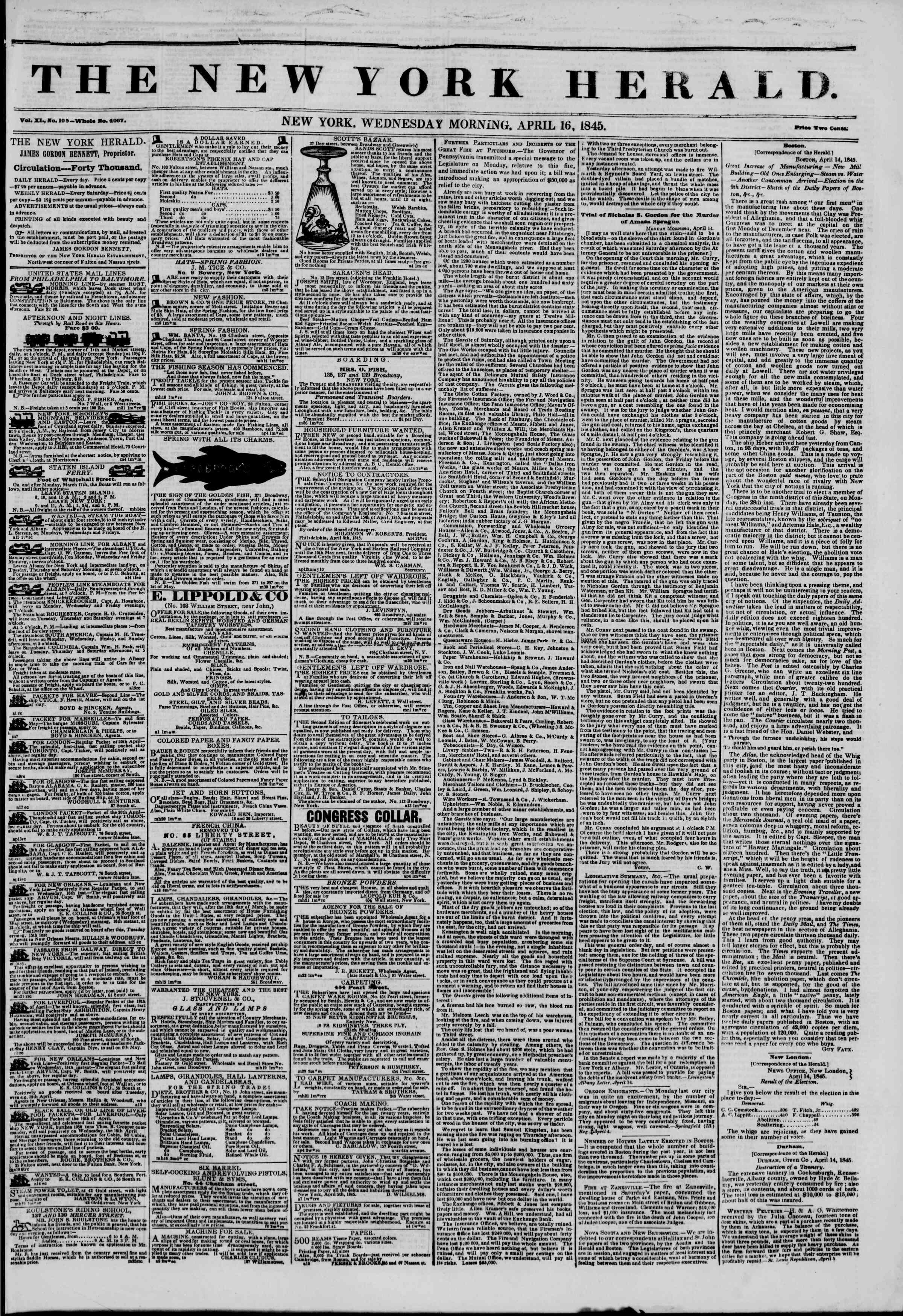 April 16, 1845 Tarihli The New York Herald Gazetesi Sayfa 1