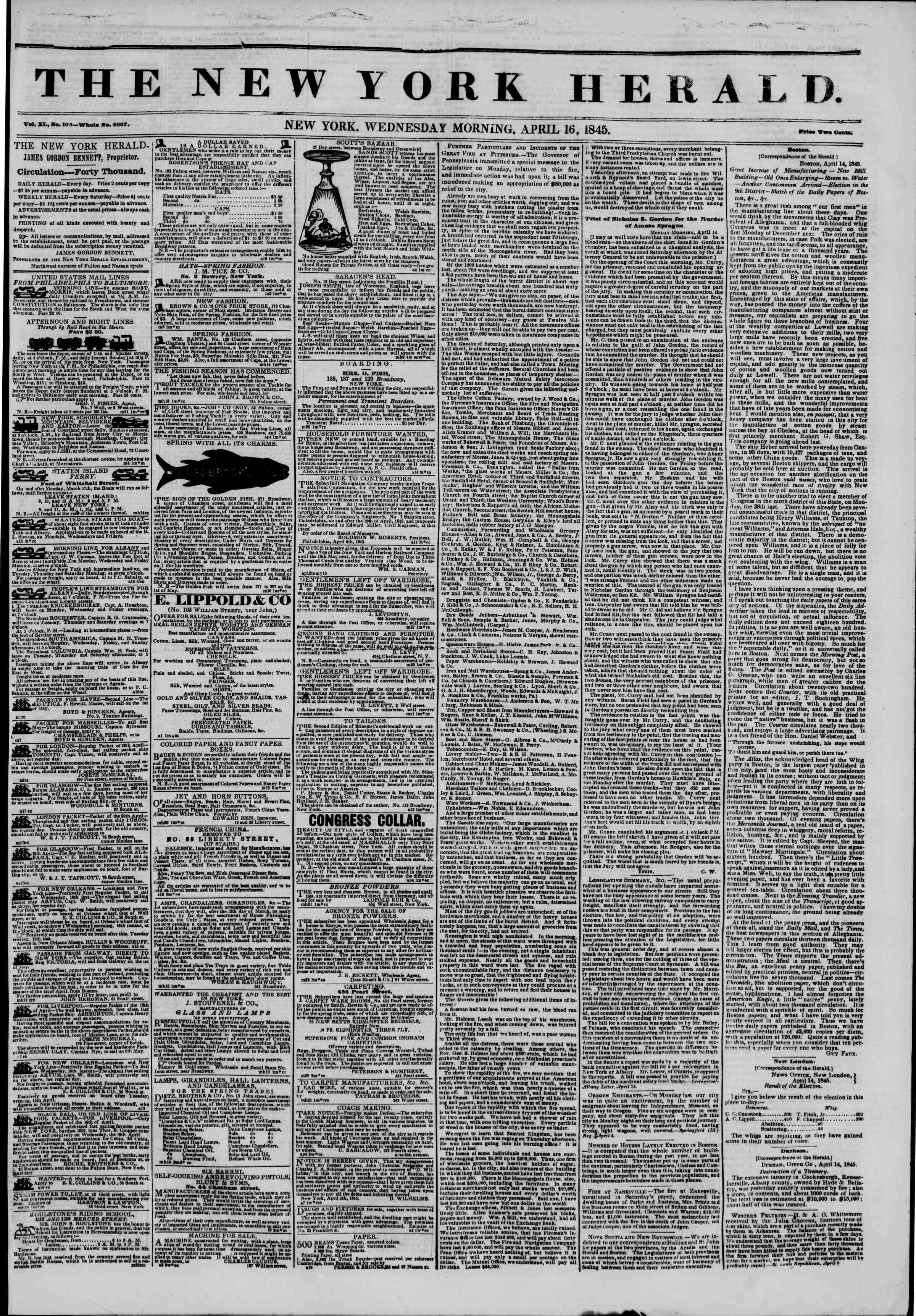 Newspaper of The New York Herald dated April 16, 1845 Page 2