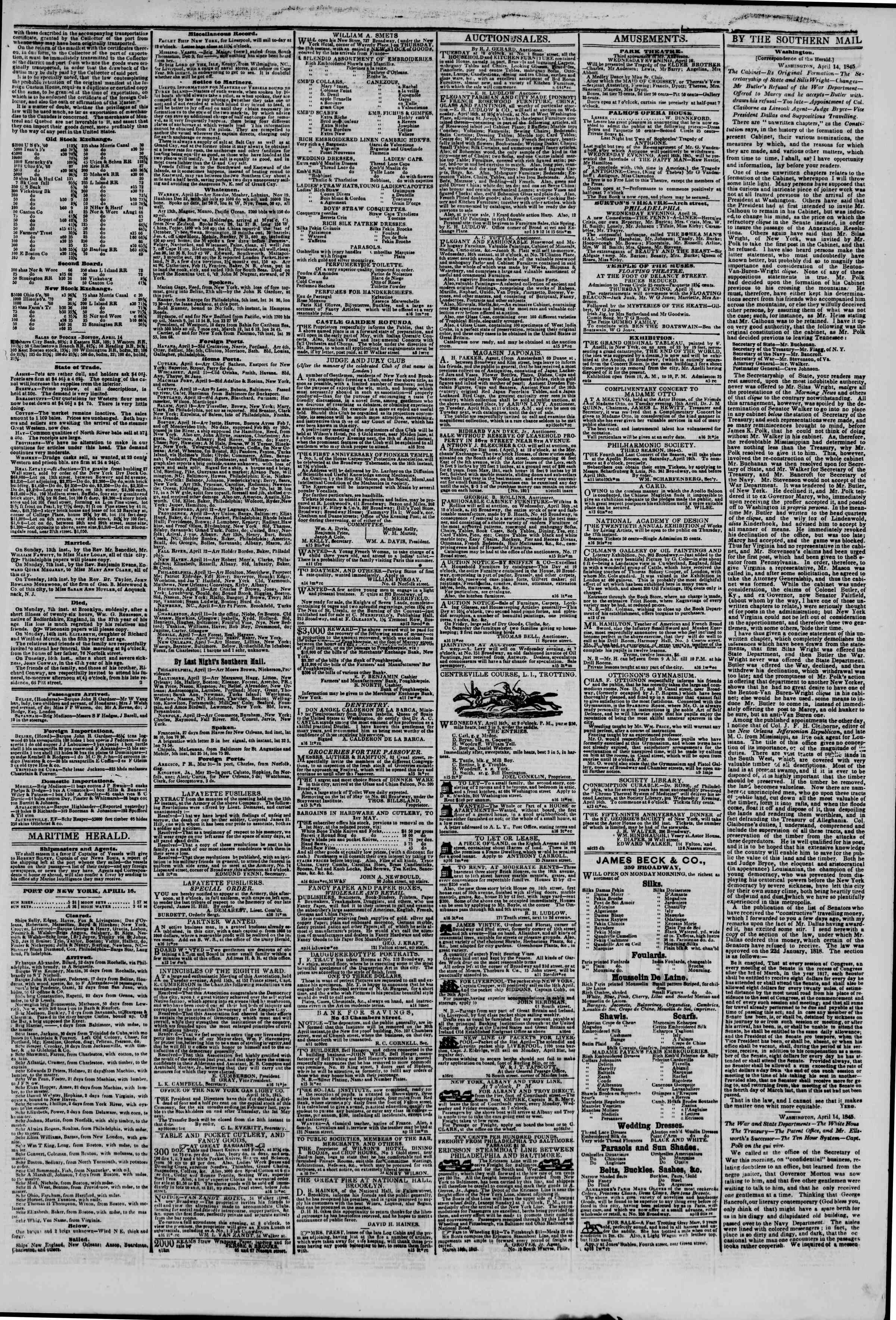 Newspaper of The New York Herald dated April 16, 1845 Page 4