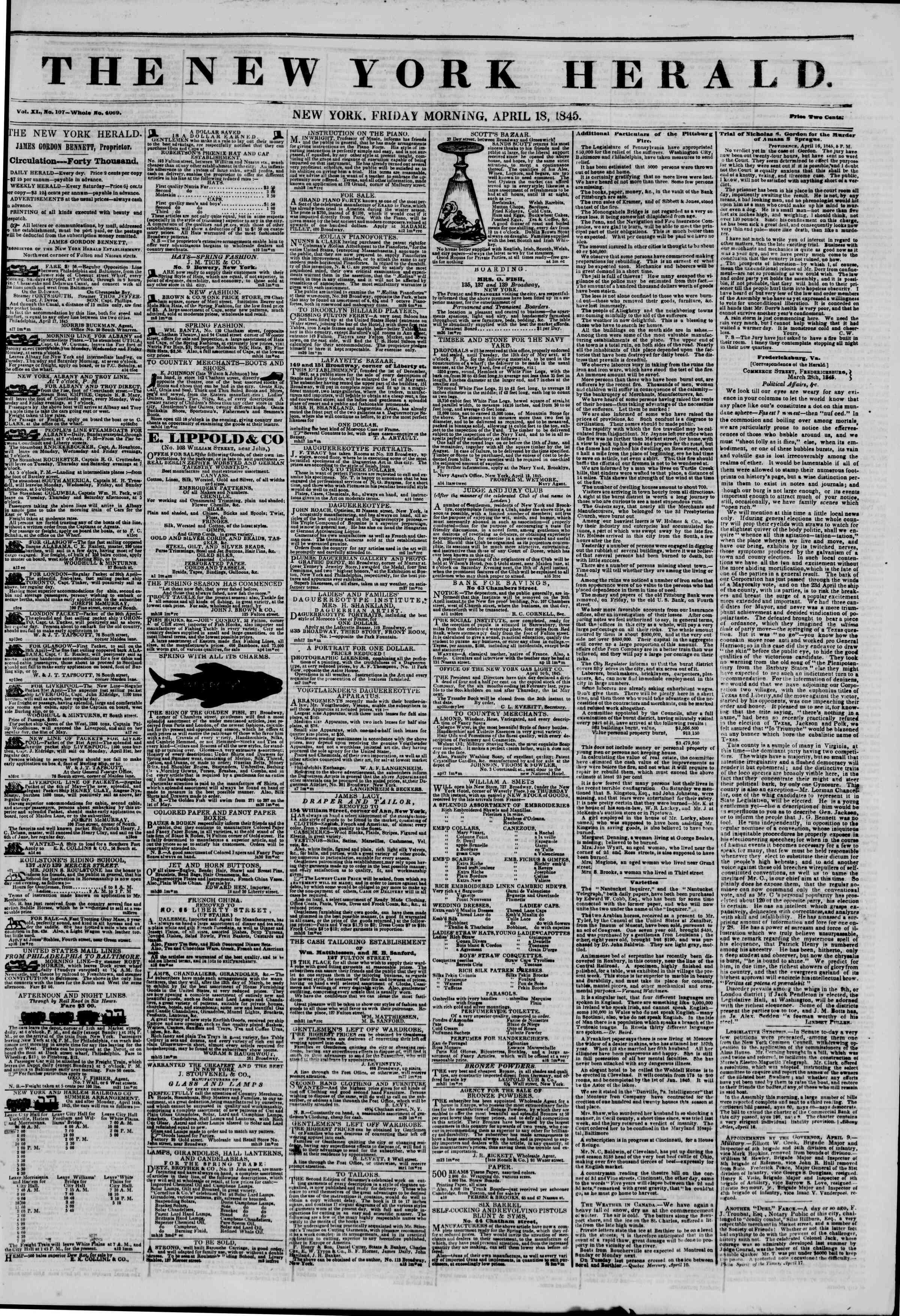 April 18, 1845 Tarihli The New York Herald Gazetesi Sayfa 1