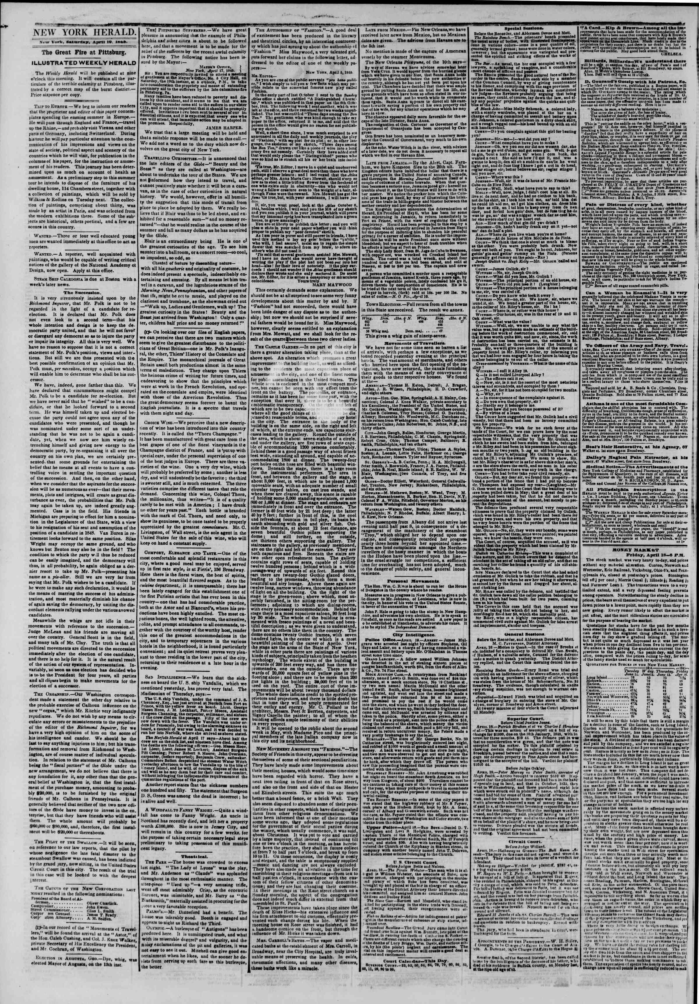 Newspaper of The New York Herald dated April 19, 1845 Page 2