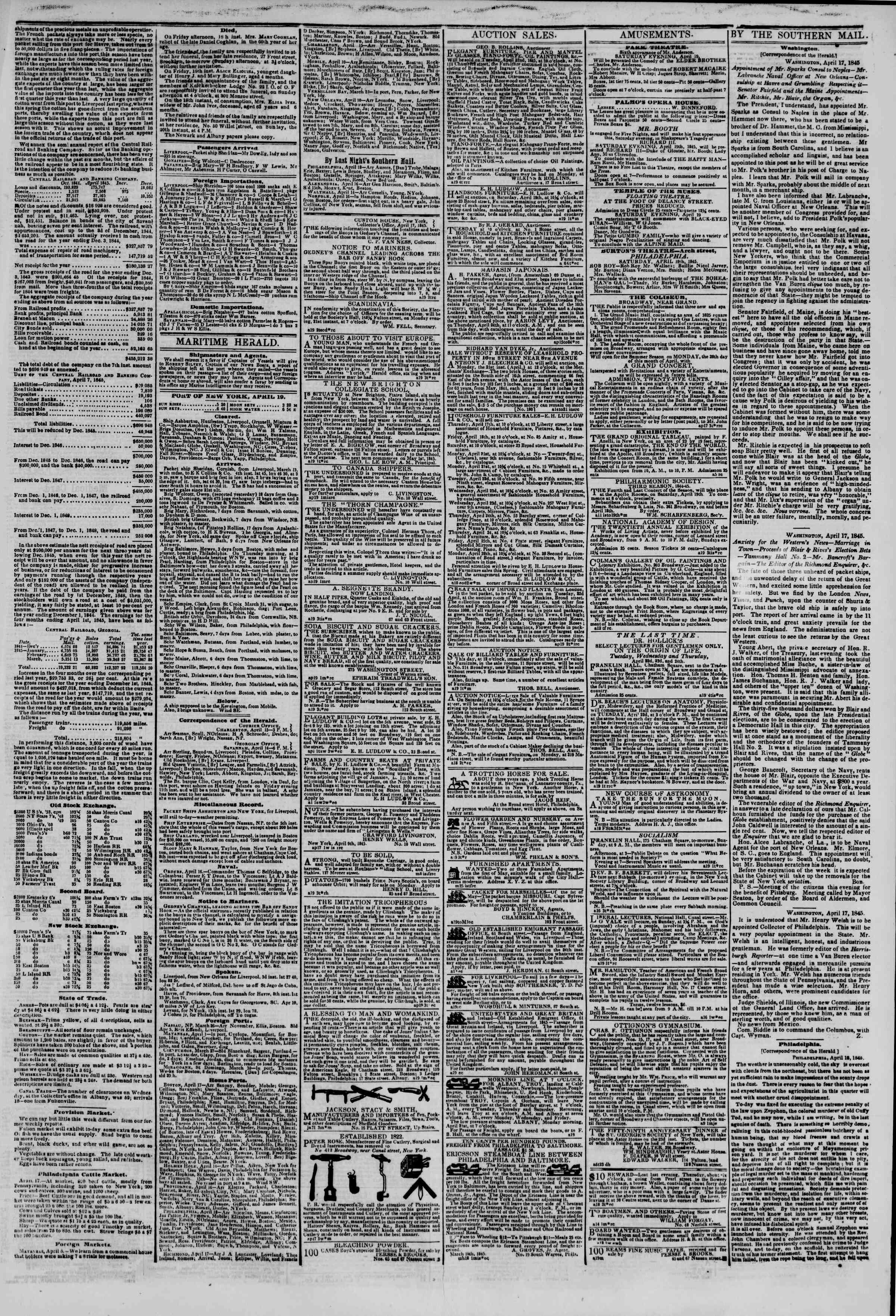 Newspaper of The New York Herald dated April 19, 1845 Page 3