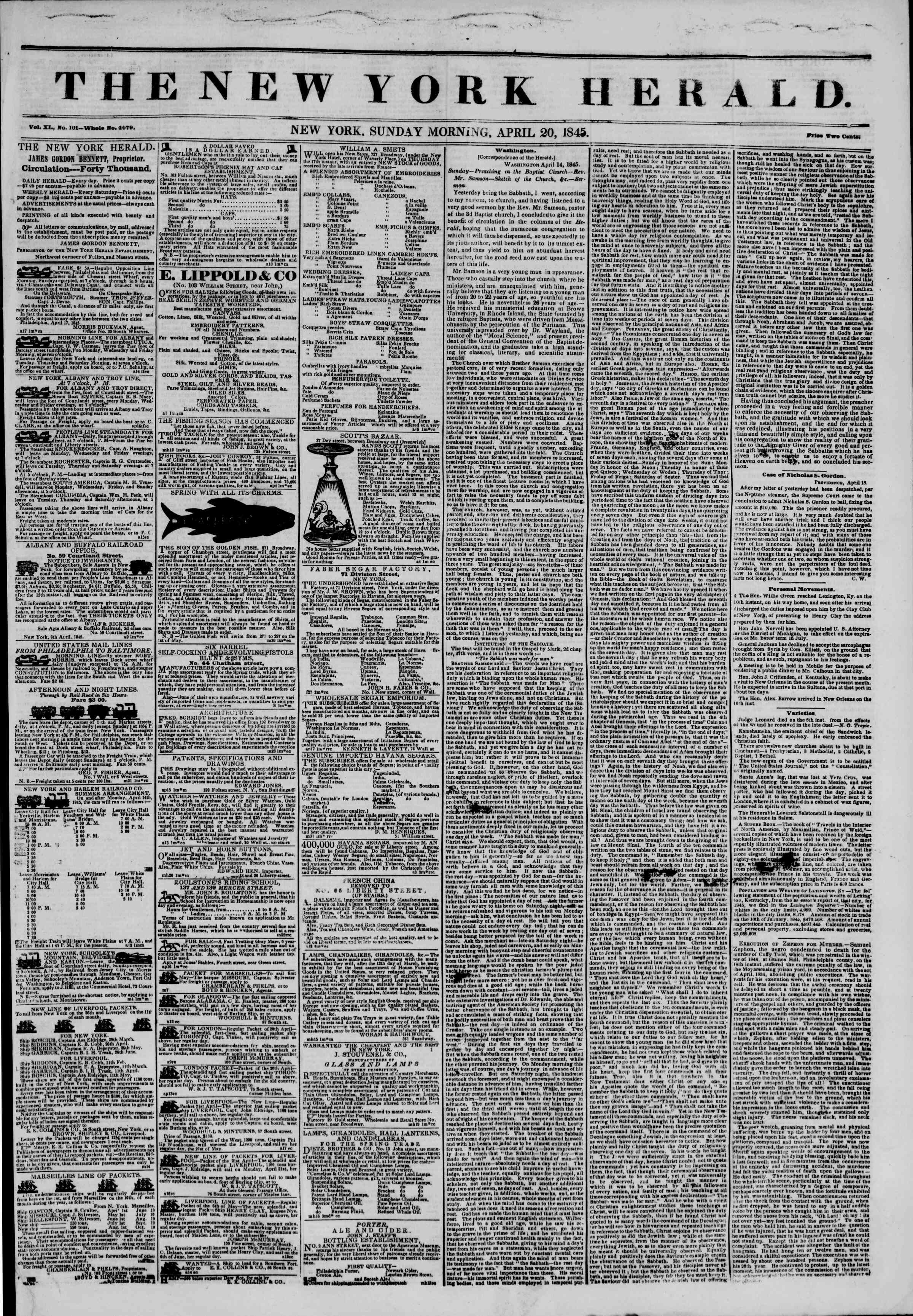 Newspaper of The New York Herald dated April 20, 1845 Page 1