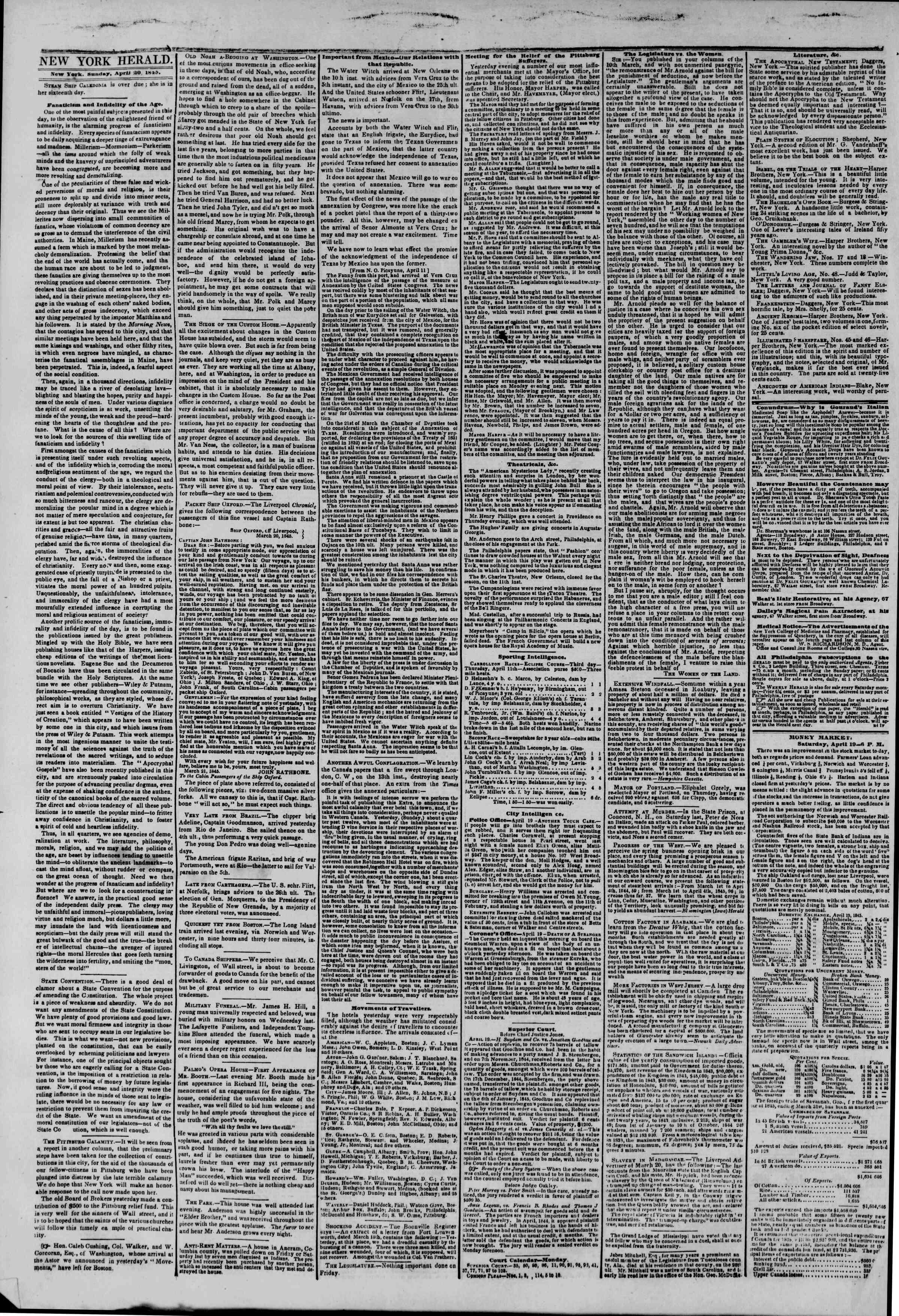 Newspaper of The New York Herald dated April 20, 1845 Page 2