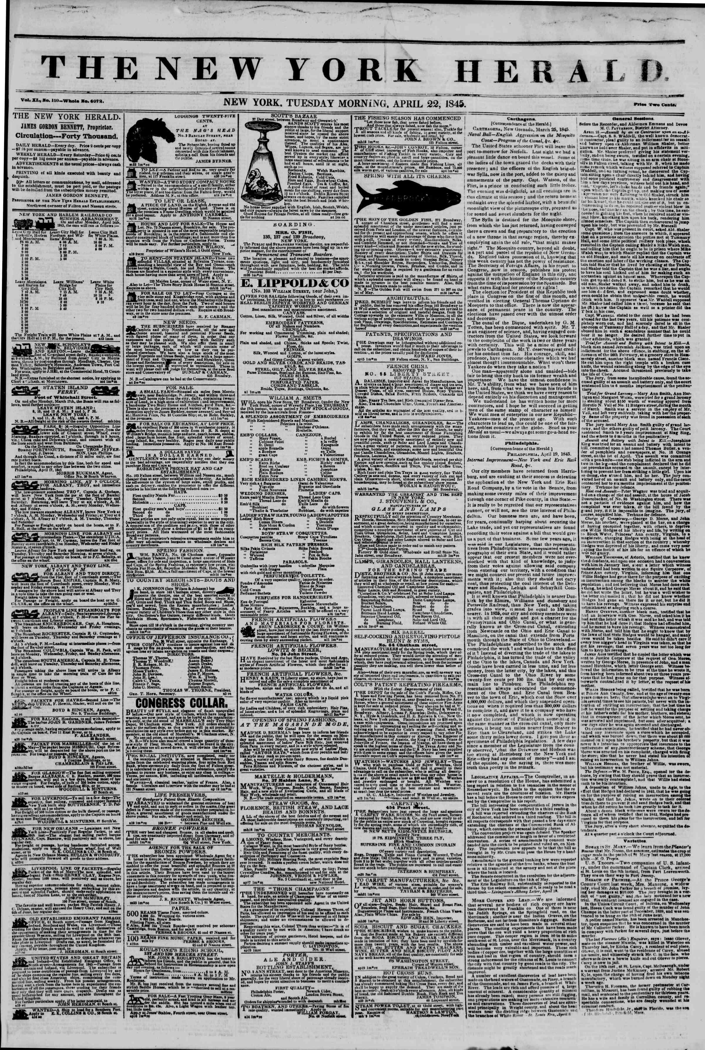April 22, 1845 Tarihli The New York Herald Gazetesi Sayfa 1