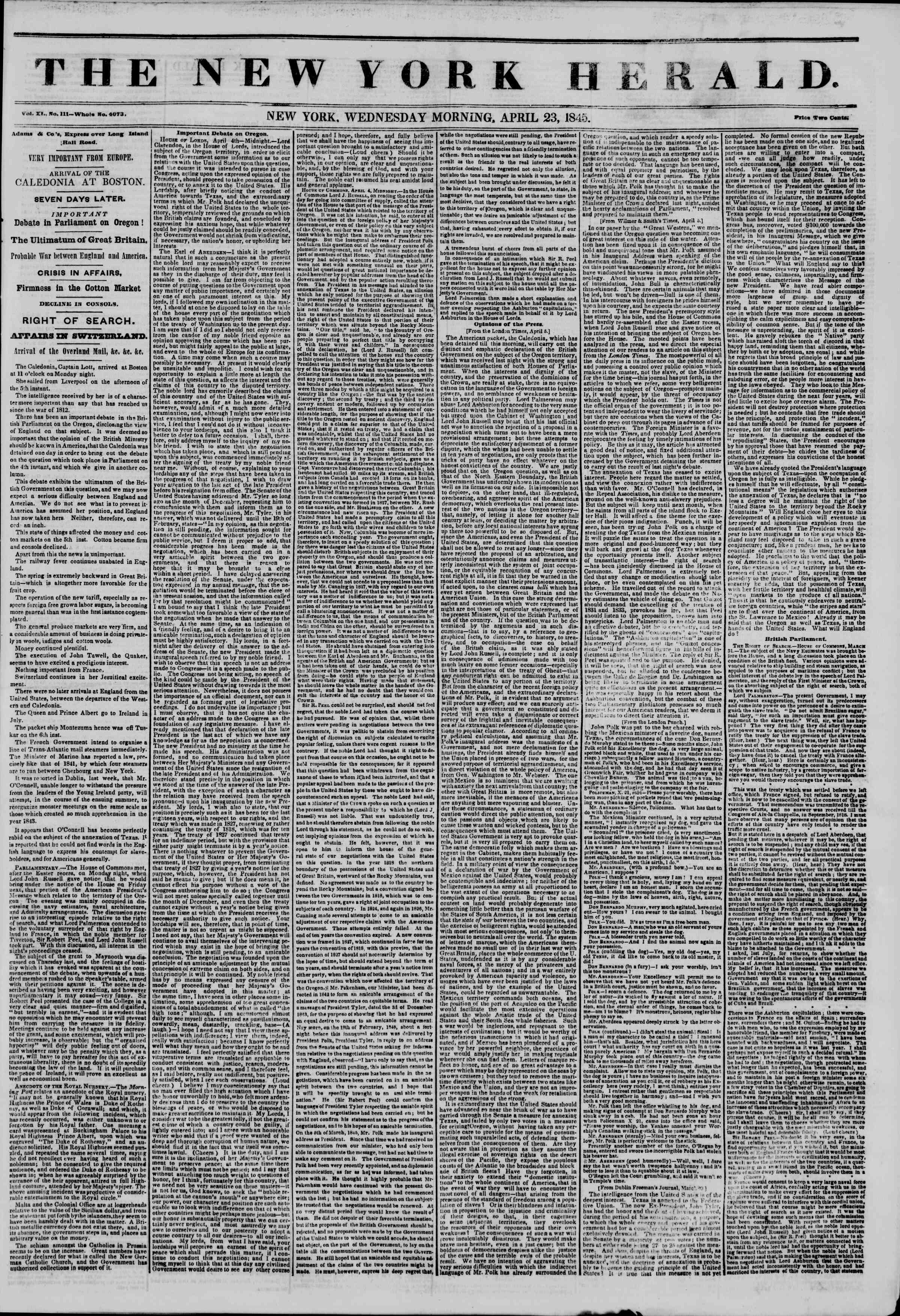 Newspaper of The New York Herald dated April 23, 1845 Page 1