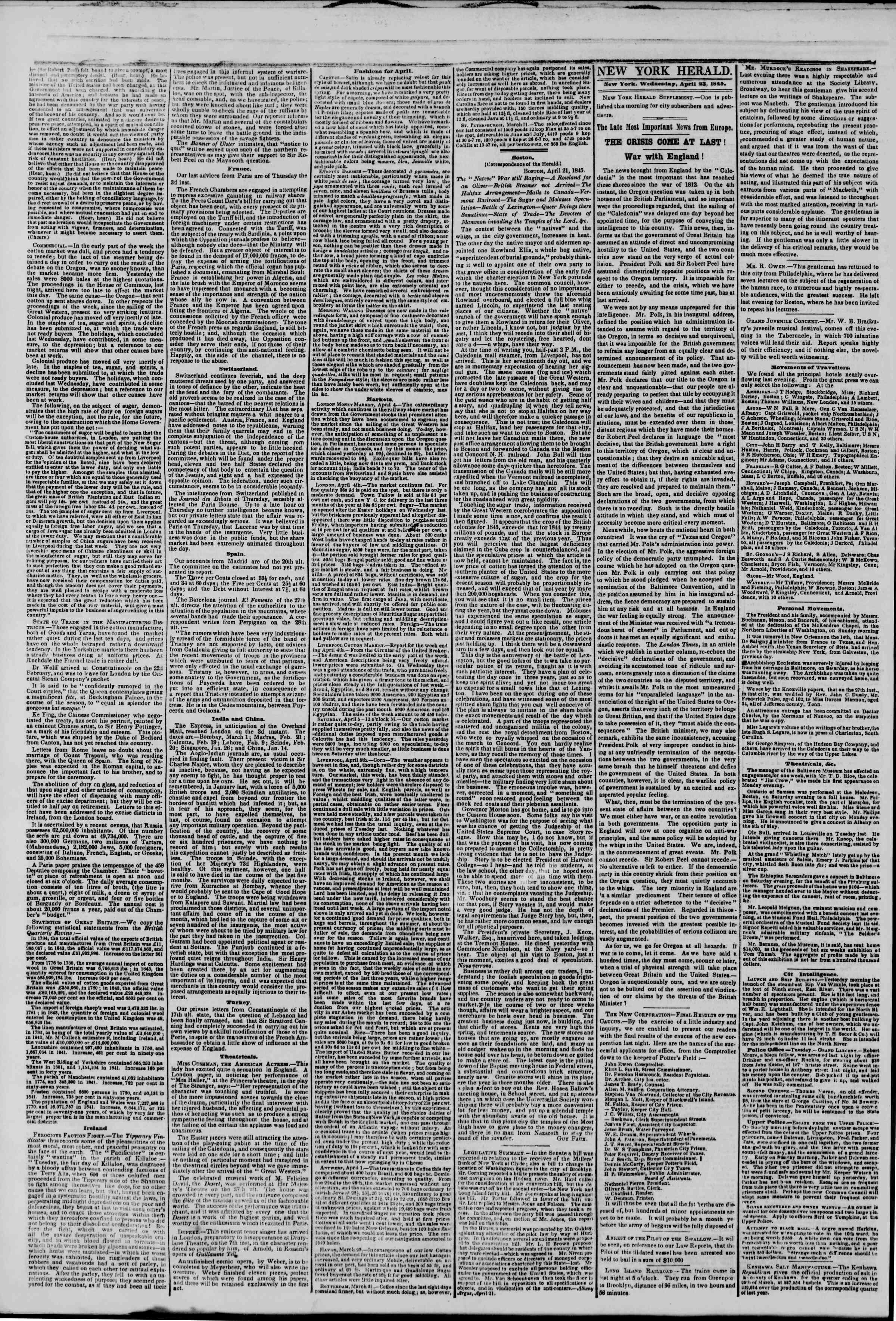 April 23, 1845 Tarihli The New York Herald Gazetesi Sayfa 2