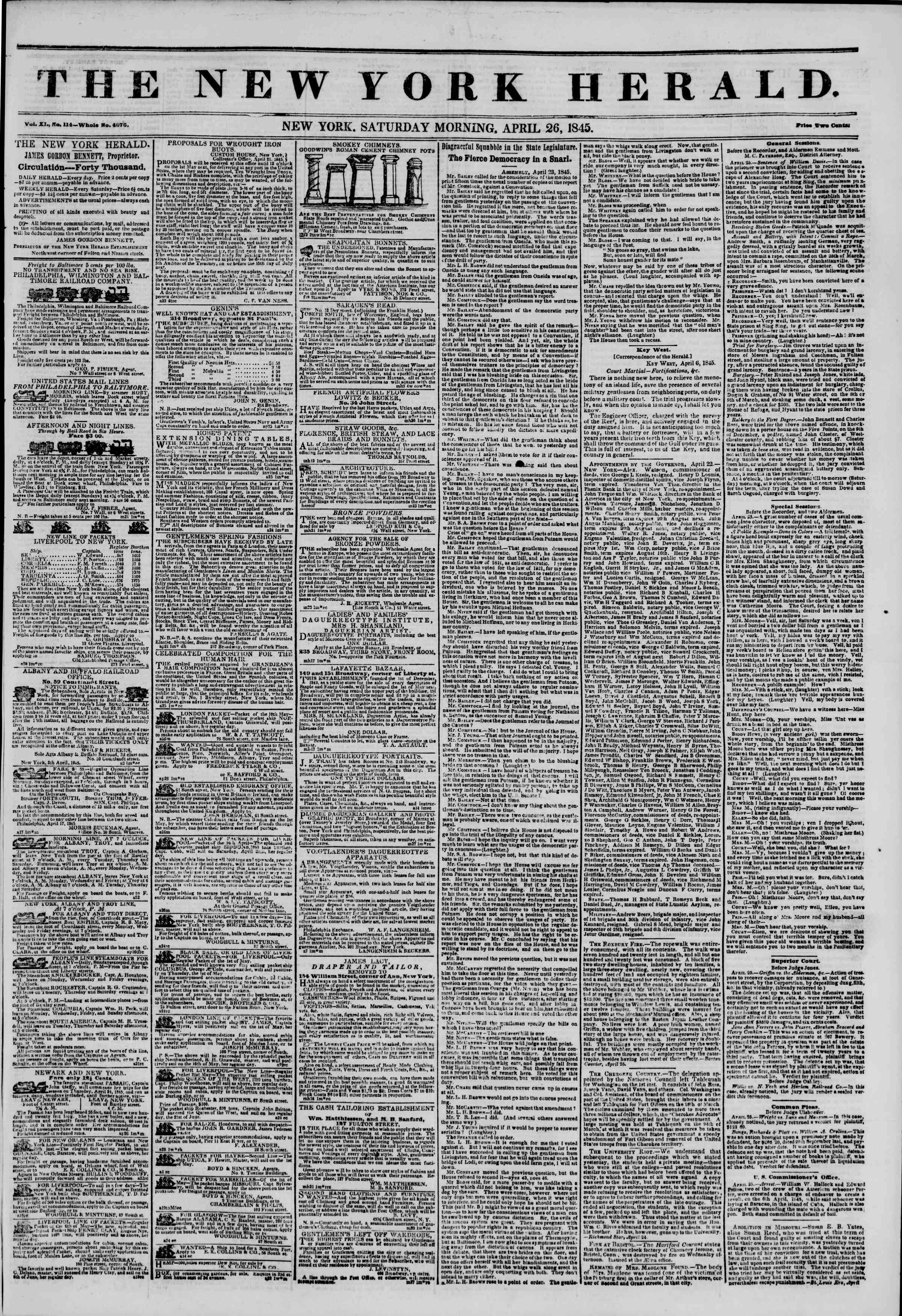 Newspaper of The New York Herald dated April 26, 1845 Page 1