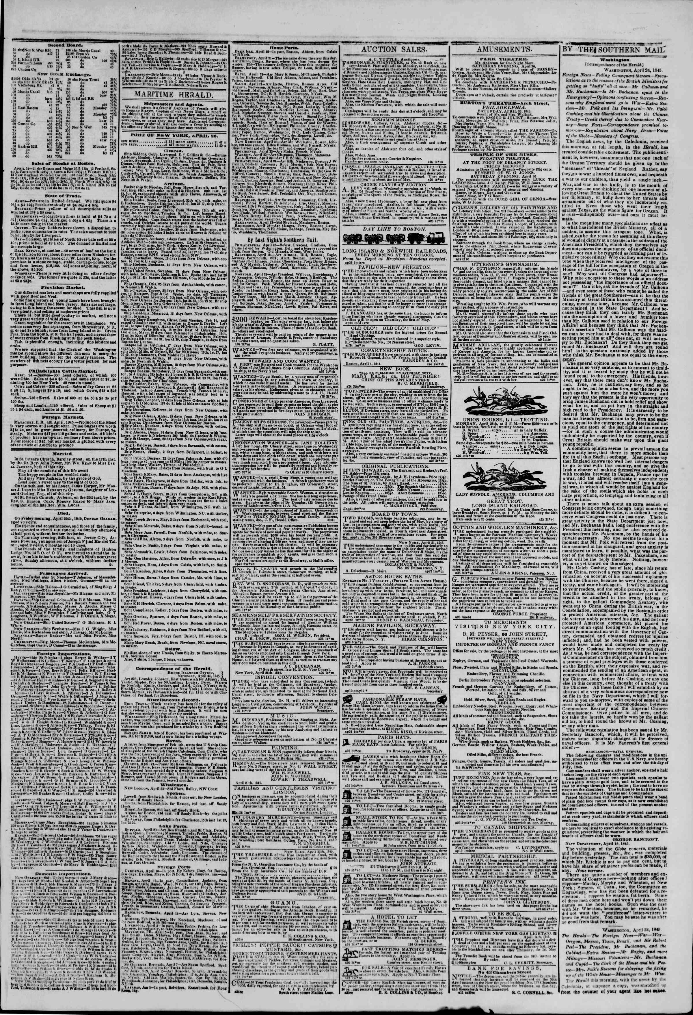 Newspaper of The New York Herald dated April 26, 1845 Page 3