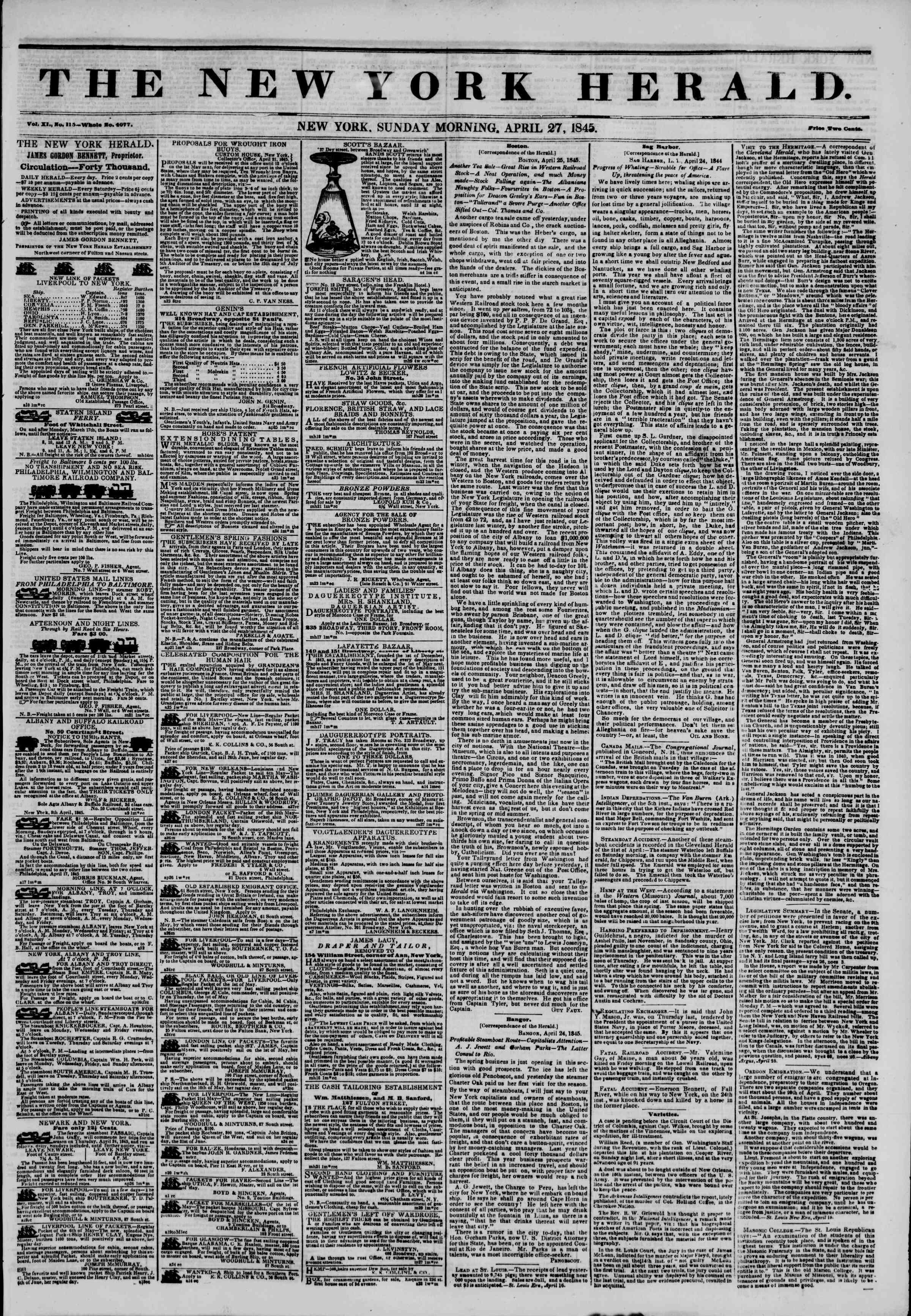April 27, 1845 Tarihli The New York Herald Gazetesi Sayfa 1