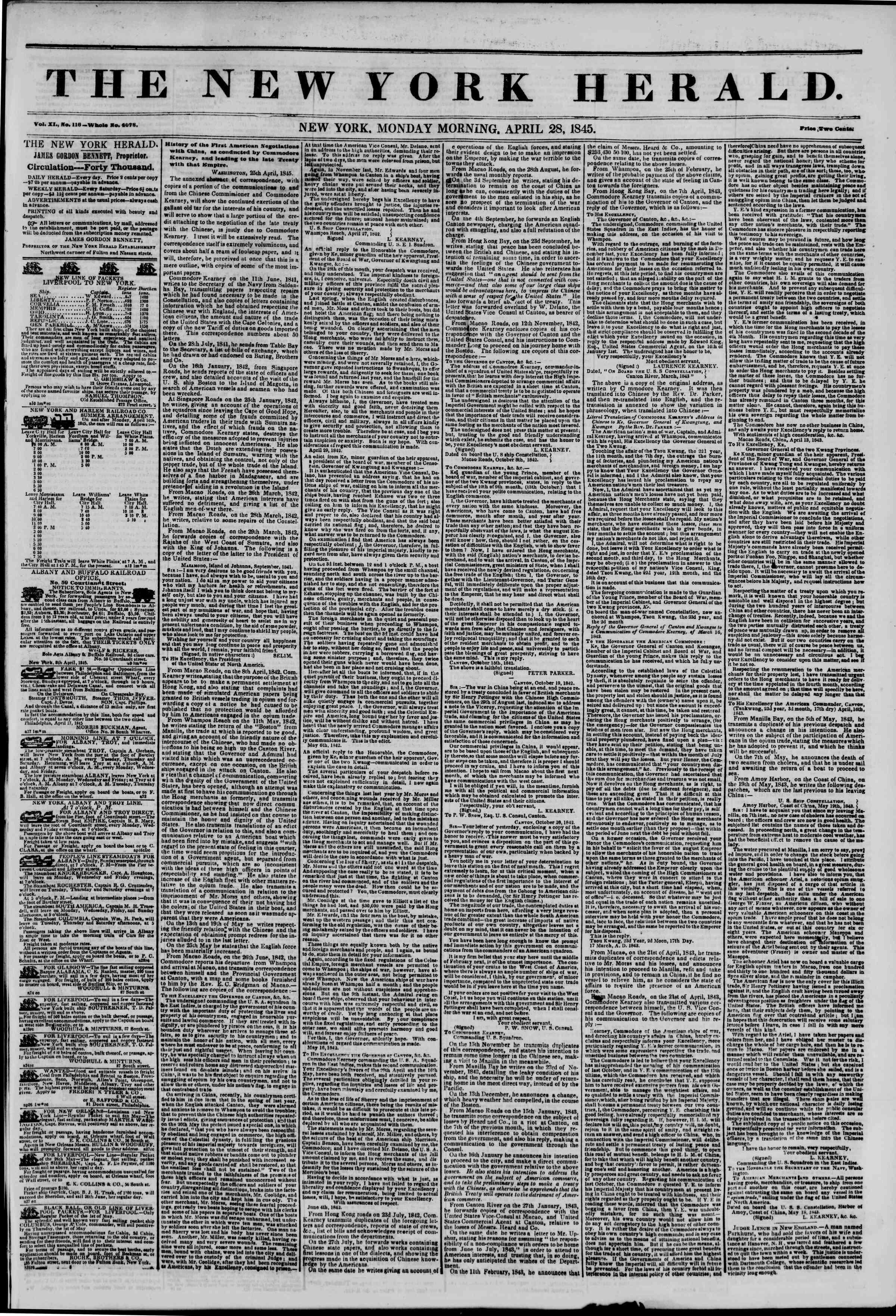 April 28, 1845 Tarihli The New York Herald Gazetesi Sayfa 1