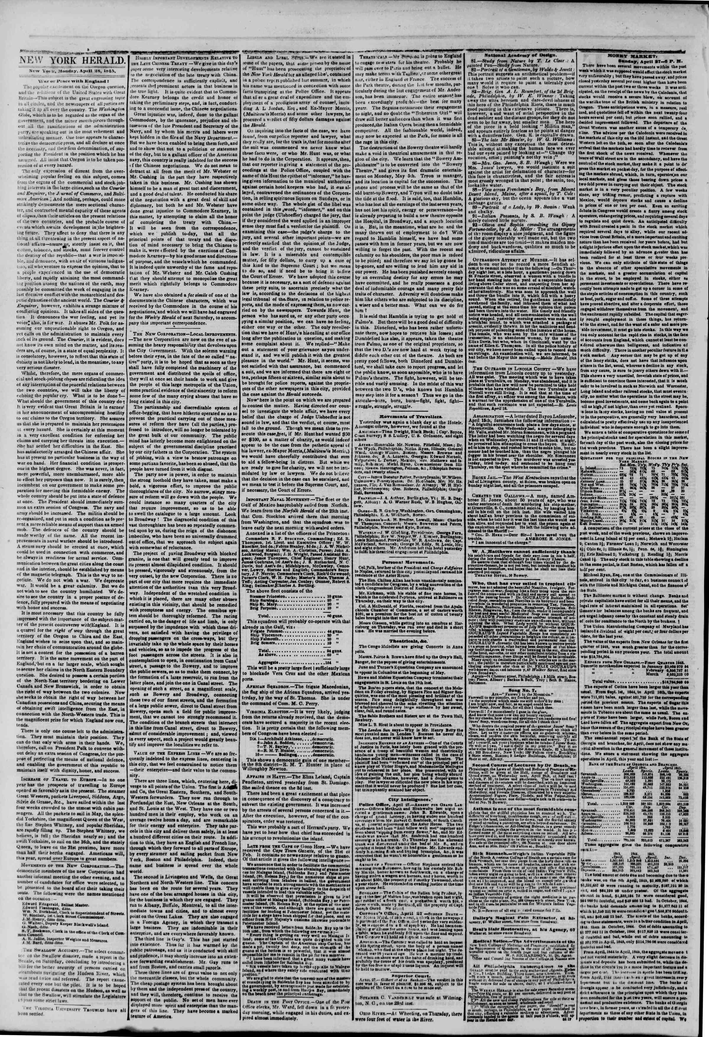 Newspaper of The New York Herald dated April 28, 1845 Page 2