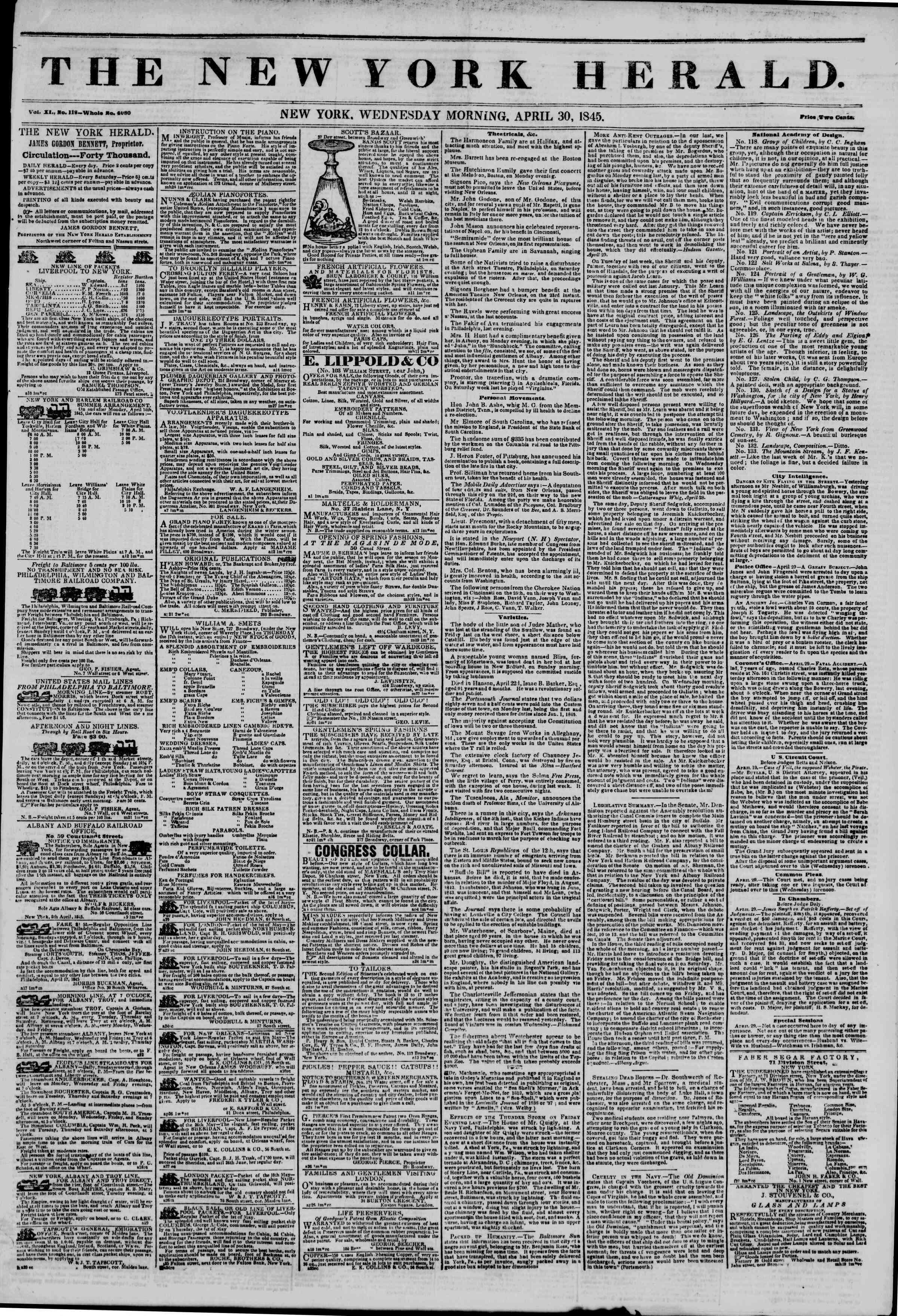 April 30, 1845 Tarihli The New York Herald Gazetesi Sayfa 1