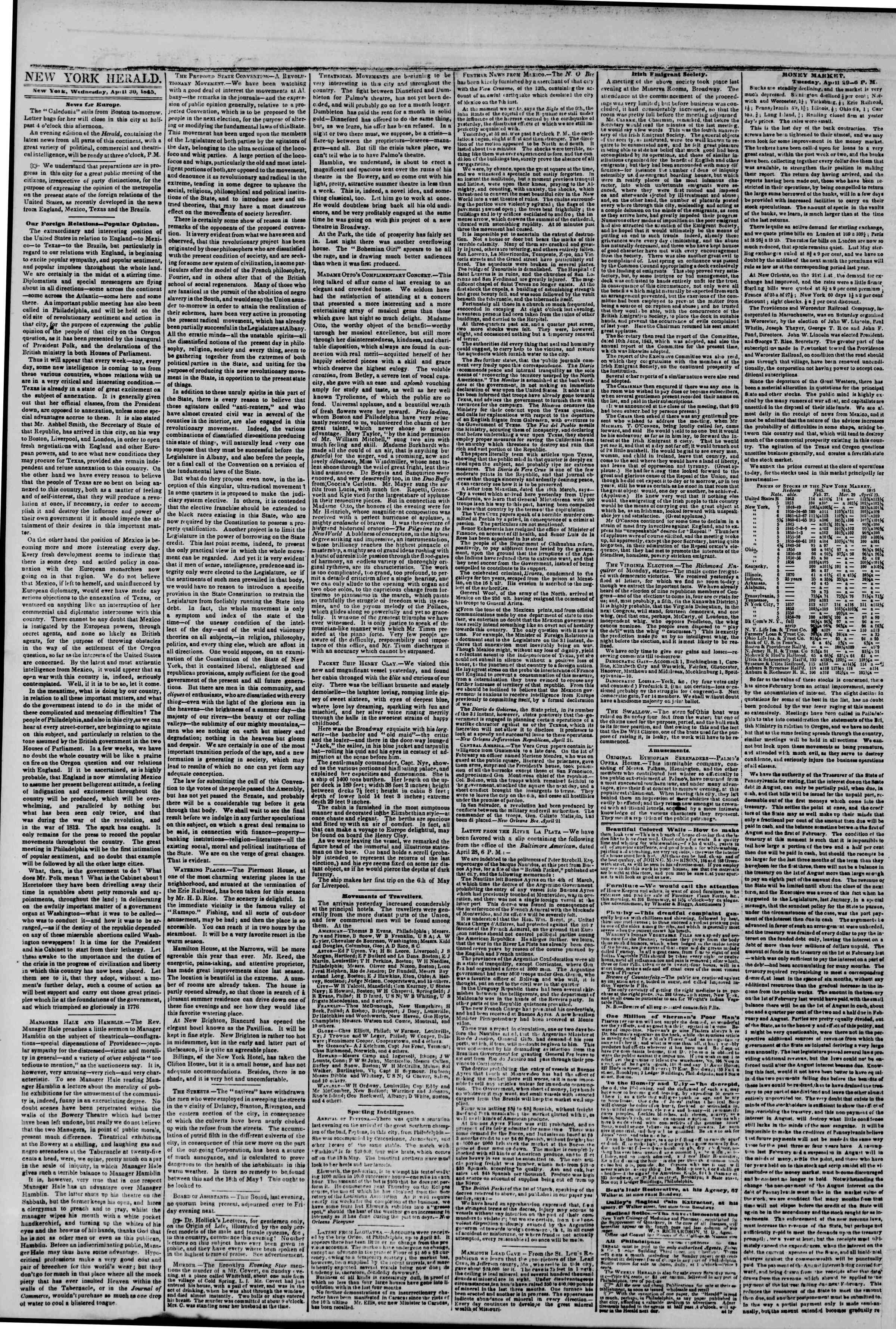 Newspaper of The New York Herald dated April 30, 1845 Page 2
