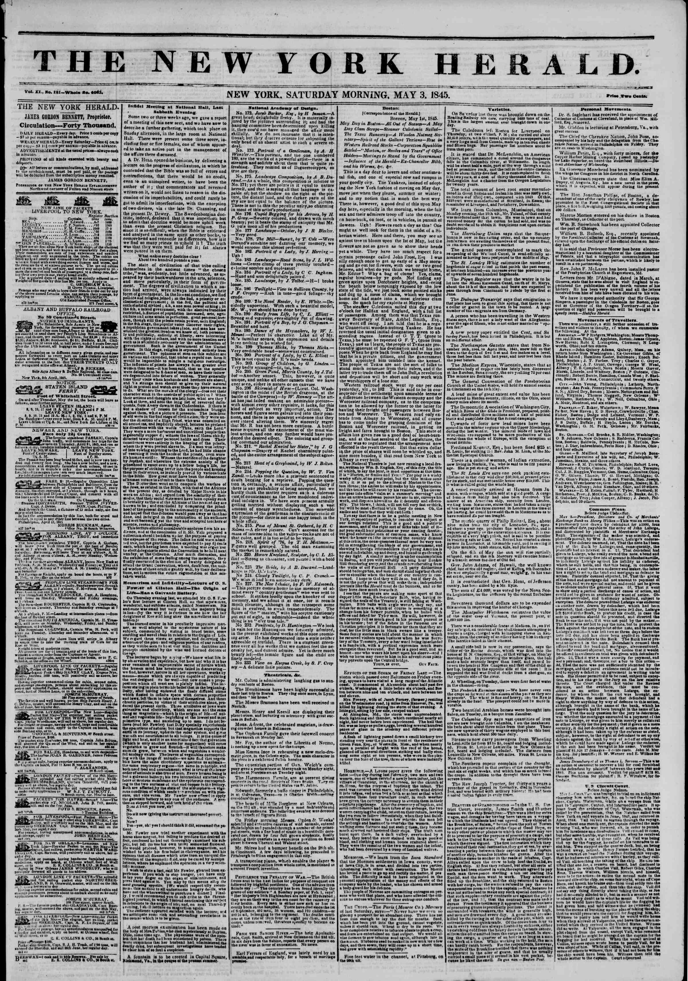 May 3, 1845 Tarihli The New York Herald Gazetesi Sayfa 1
