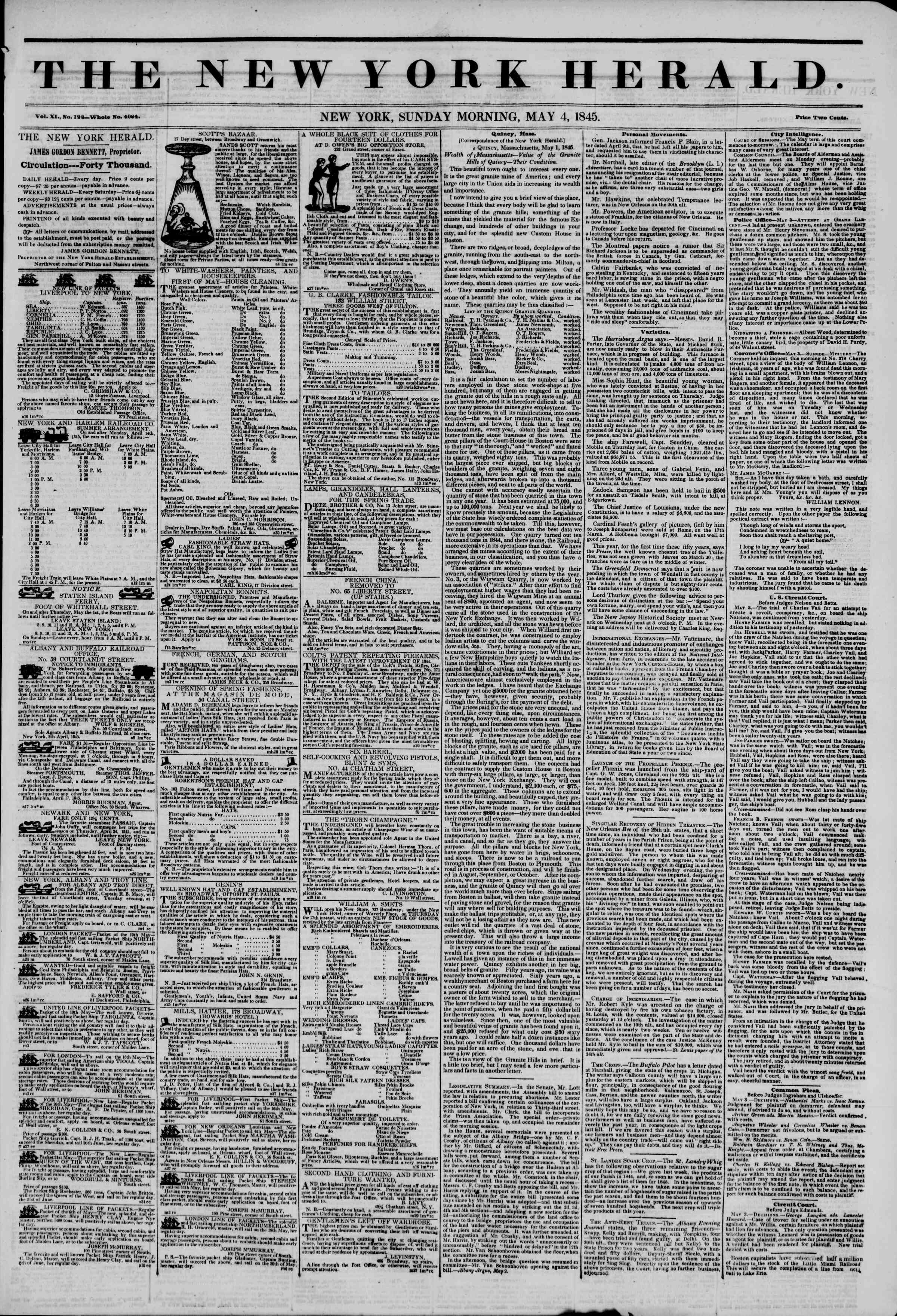 May 4, 1845 Tarihli The New York Herald Gazetesi Sayfa 1
