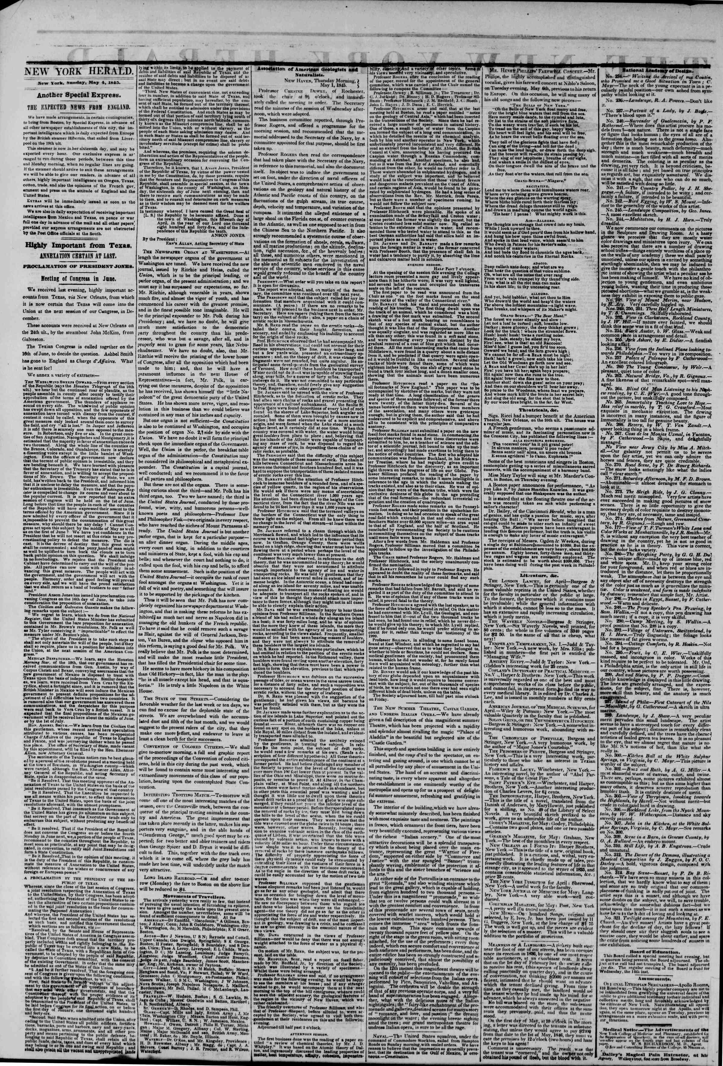 May 4, 1845 Tarihli The New York Herald Gazetesi Sayfa 2