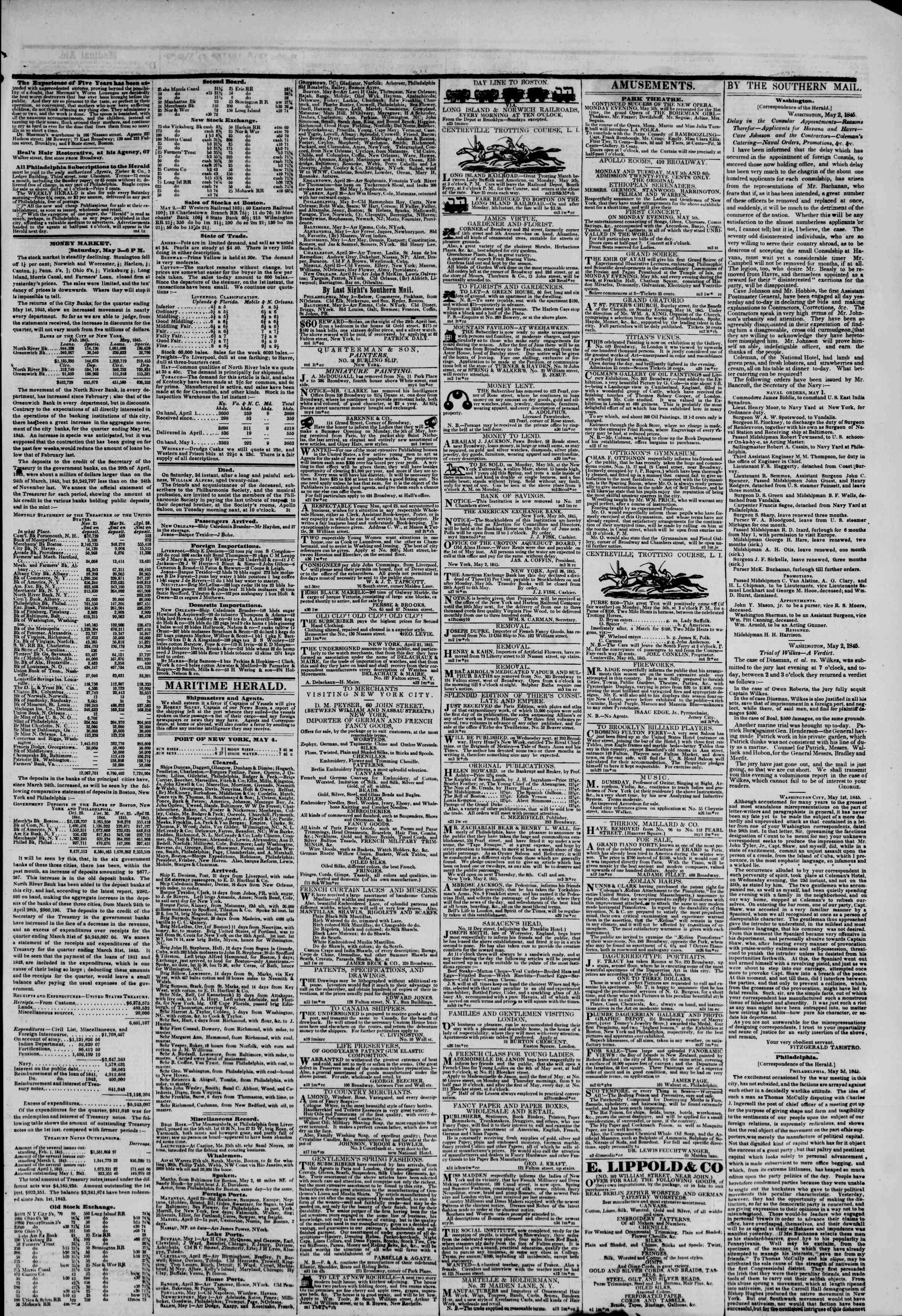 May 4, 1845 Tarihli The New York Herald Gazetesi Sayfa 3