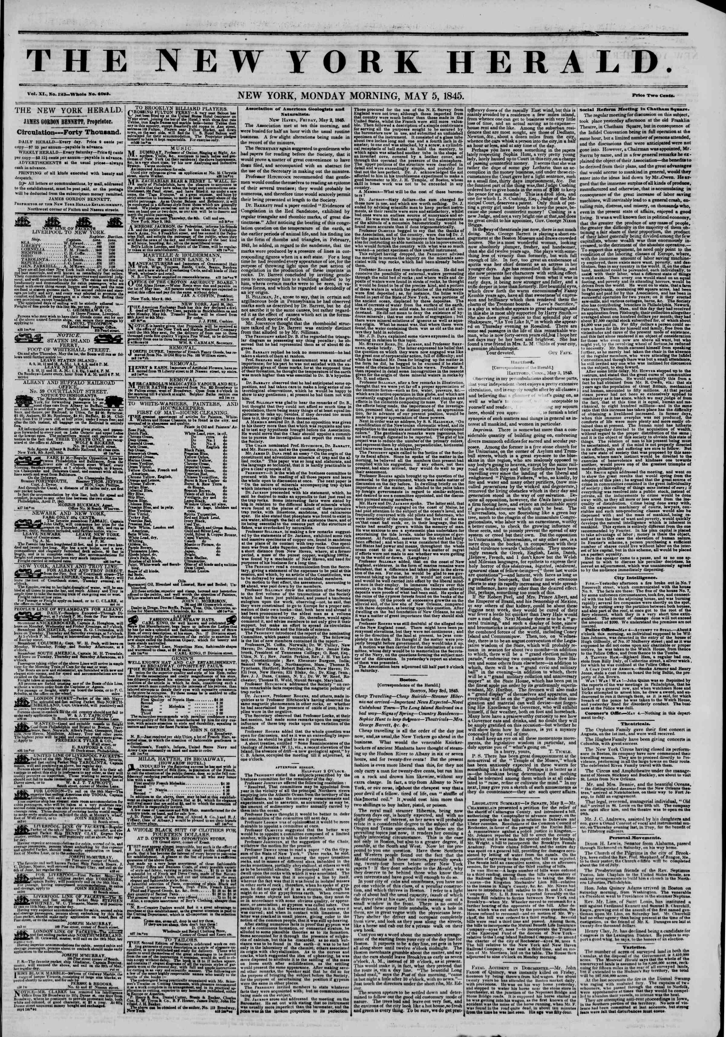 May 5, 1845 Tarihli The New York Herald Gazetesi Sayfa 1
