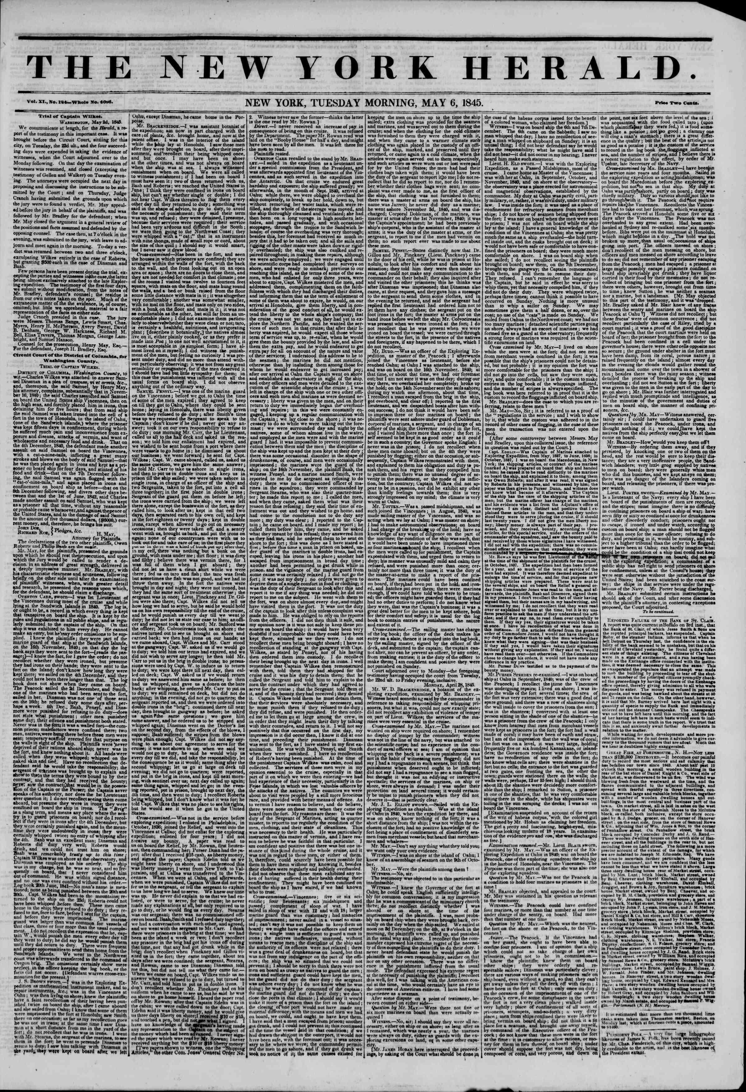 6 Mayıs 1845 tarihli The New York Herald Gazetesi Sayfa 1