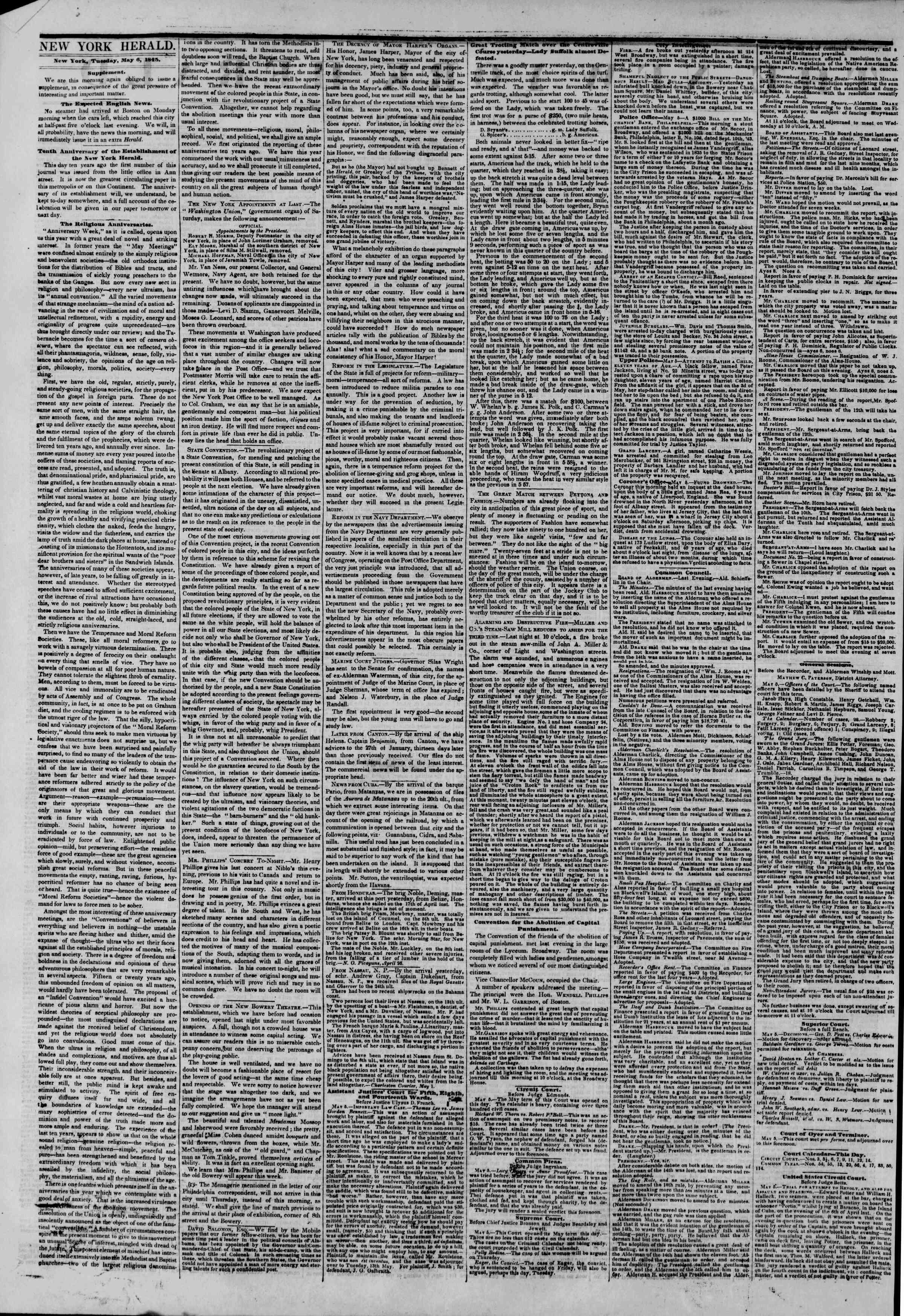 May 6, 1845 Tarihli The New York Herald Gazetesi Sayfa 2
