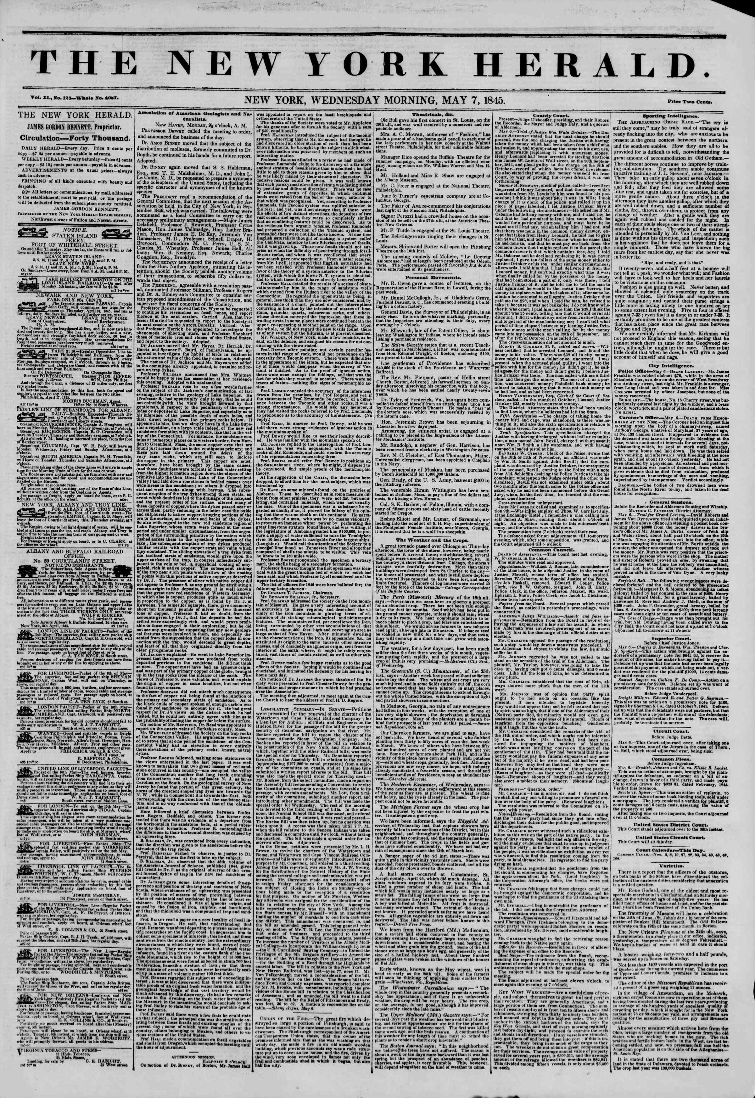 Newspaper of The New York Herald dated May 7, 1845 Page 1