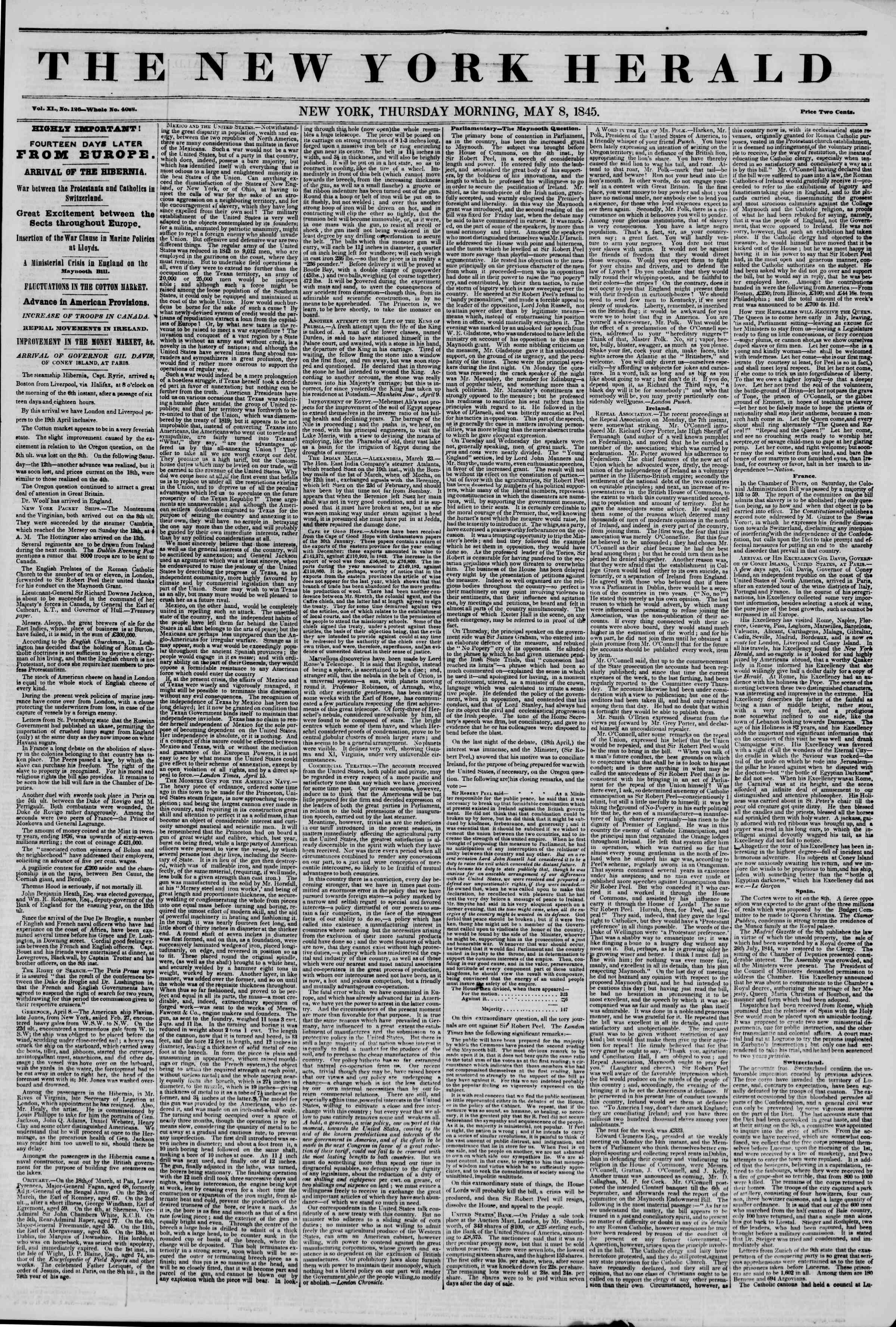 Newspaper of The New York Herald dated May 8, 1845 Page 1
