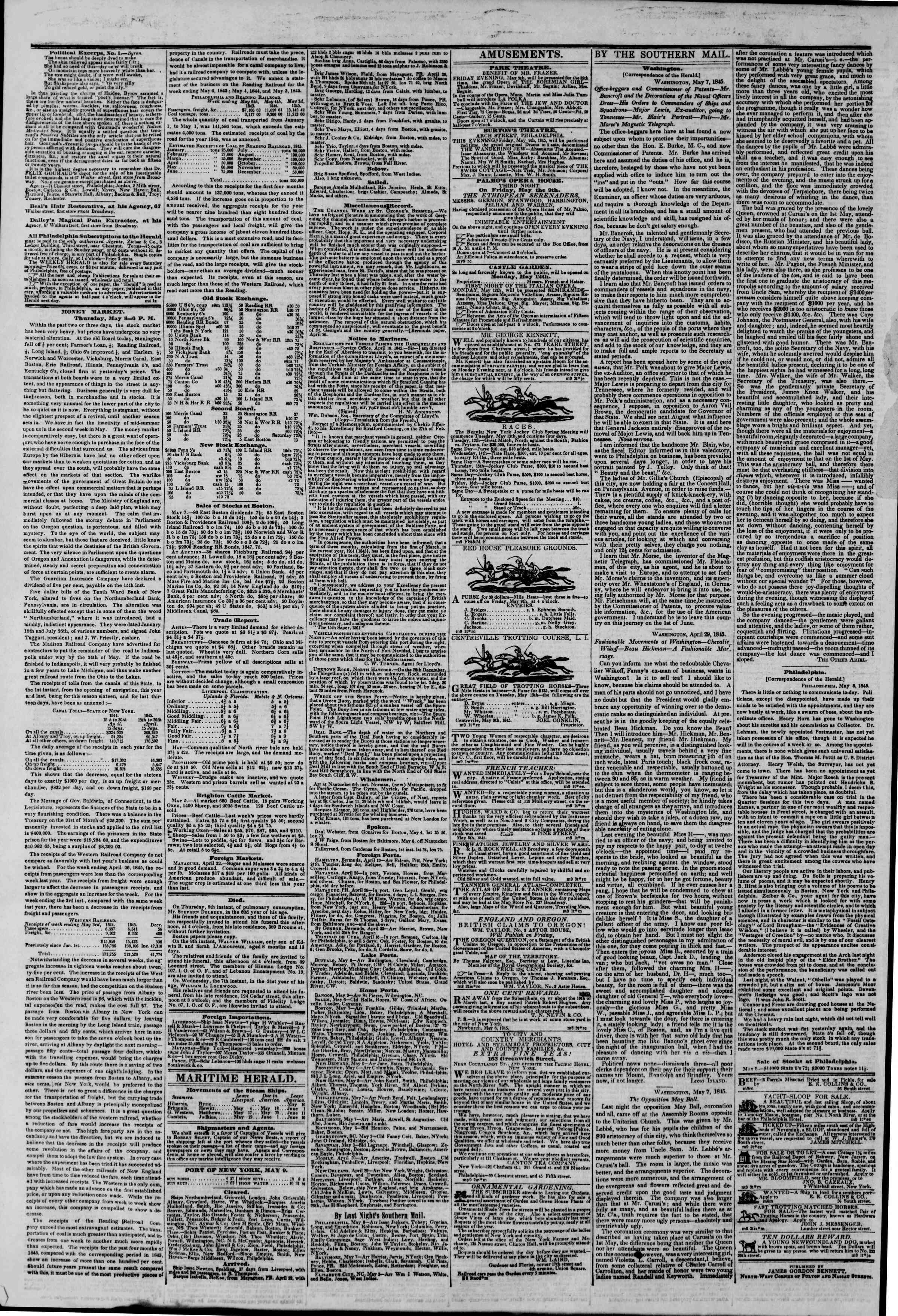 May 9, 1845 Tarihli The New York Herald Gazetesi Sayfa 4