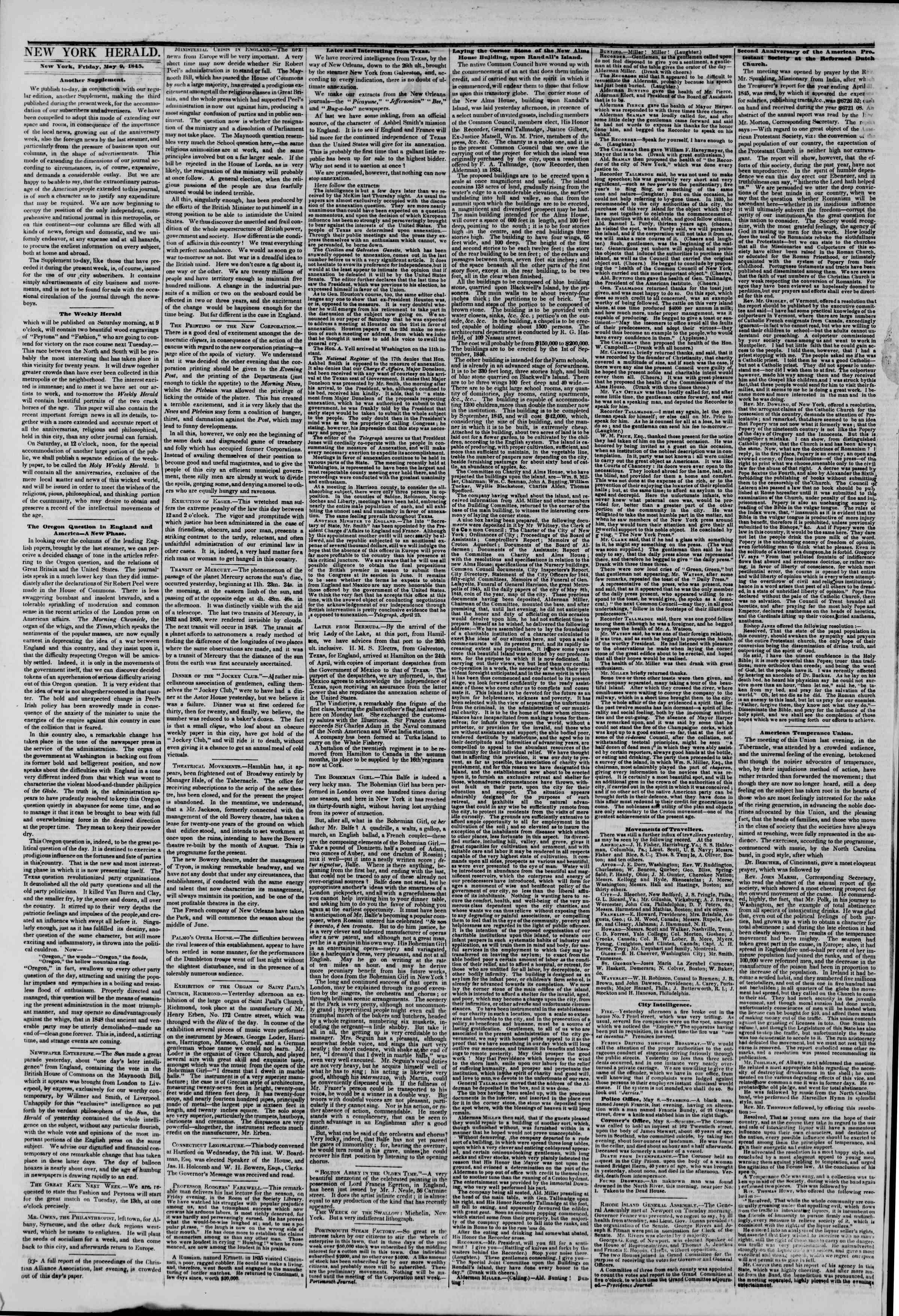 May 9, 1845 Tarihli The New York Herald Gazetesi Sayfa 6