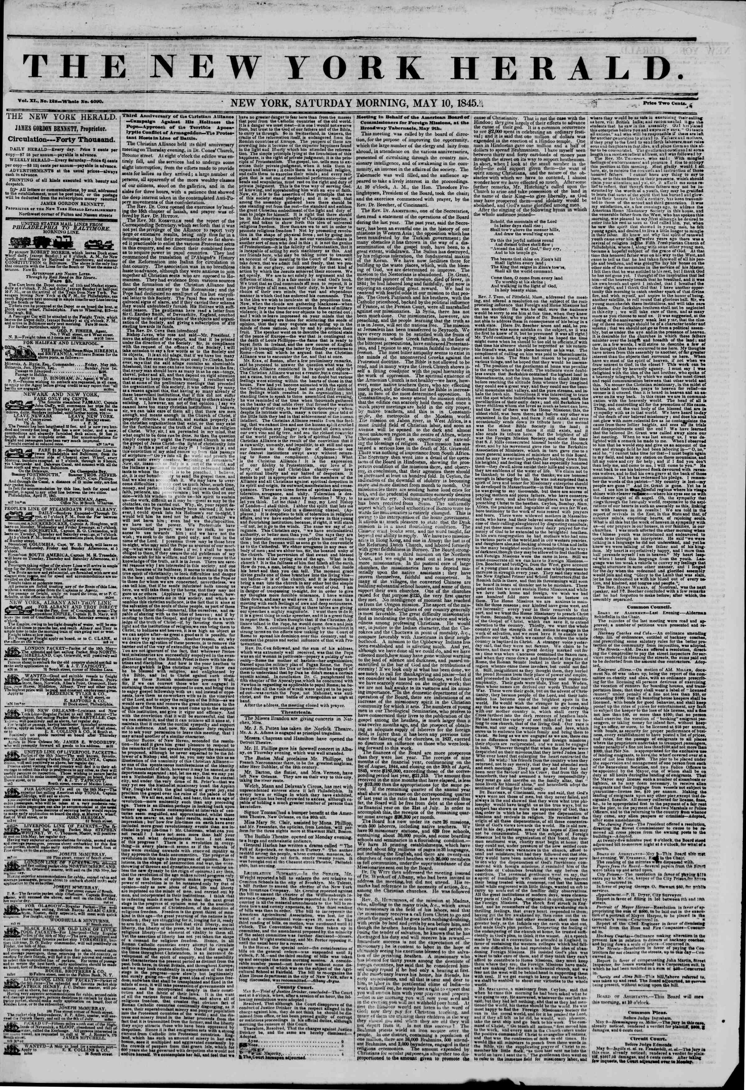 Newspaper of The New York Herald dated May 10, 1845 Page 1