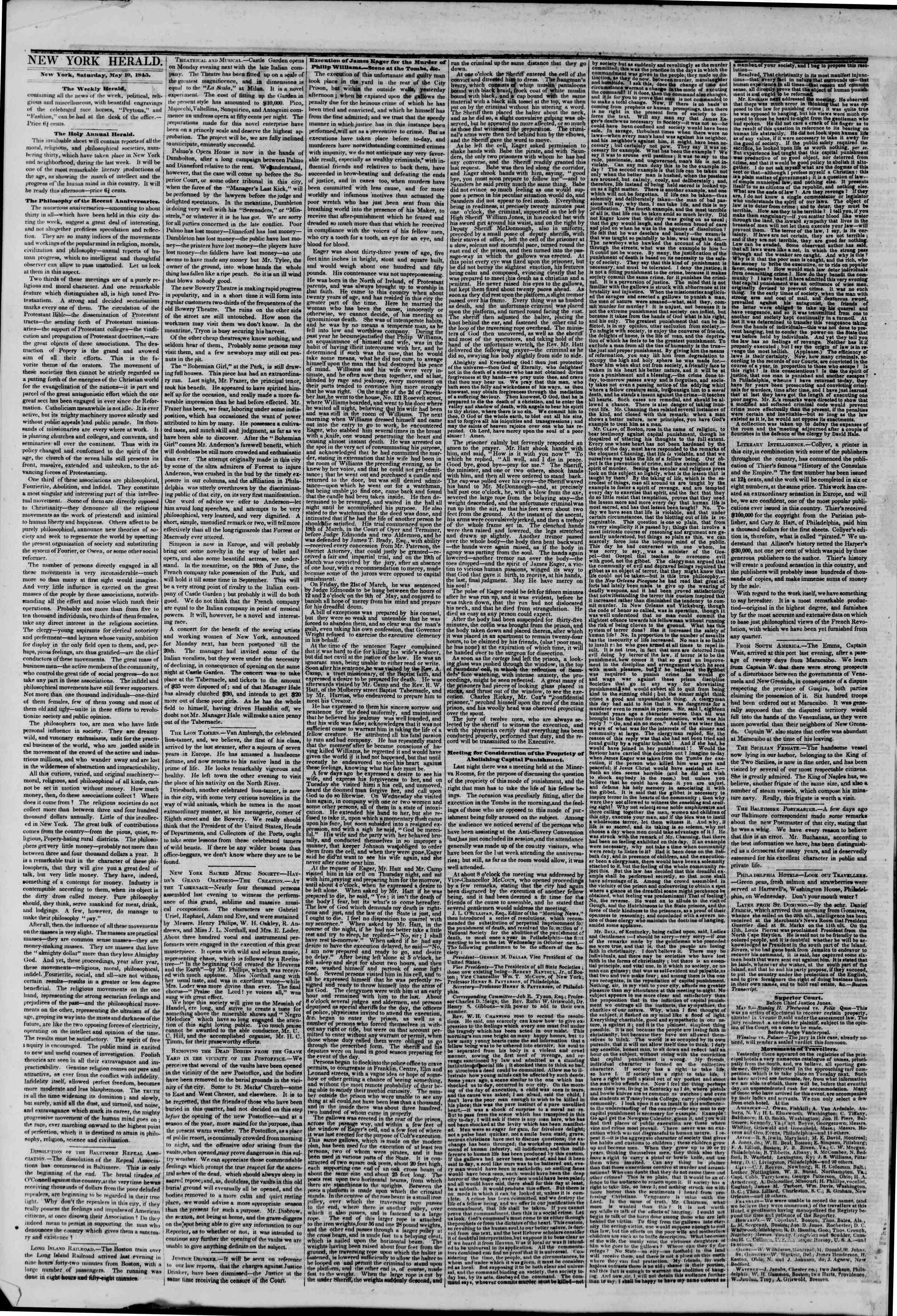 May 10, 1845 Tarihli The New York Herald Gazetesi Sayfa 2