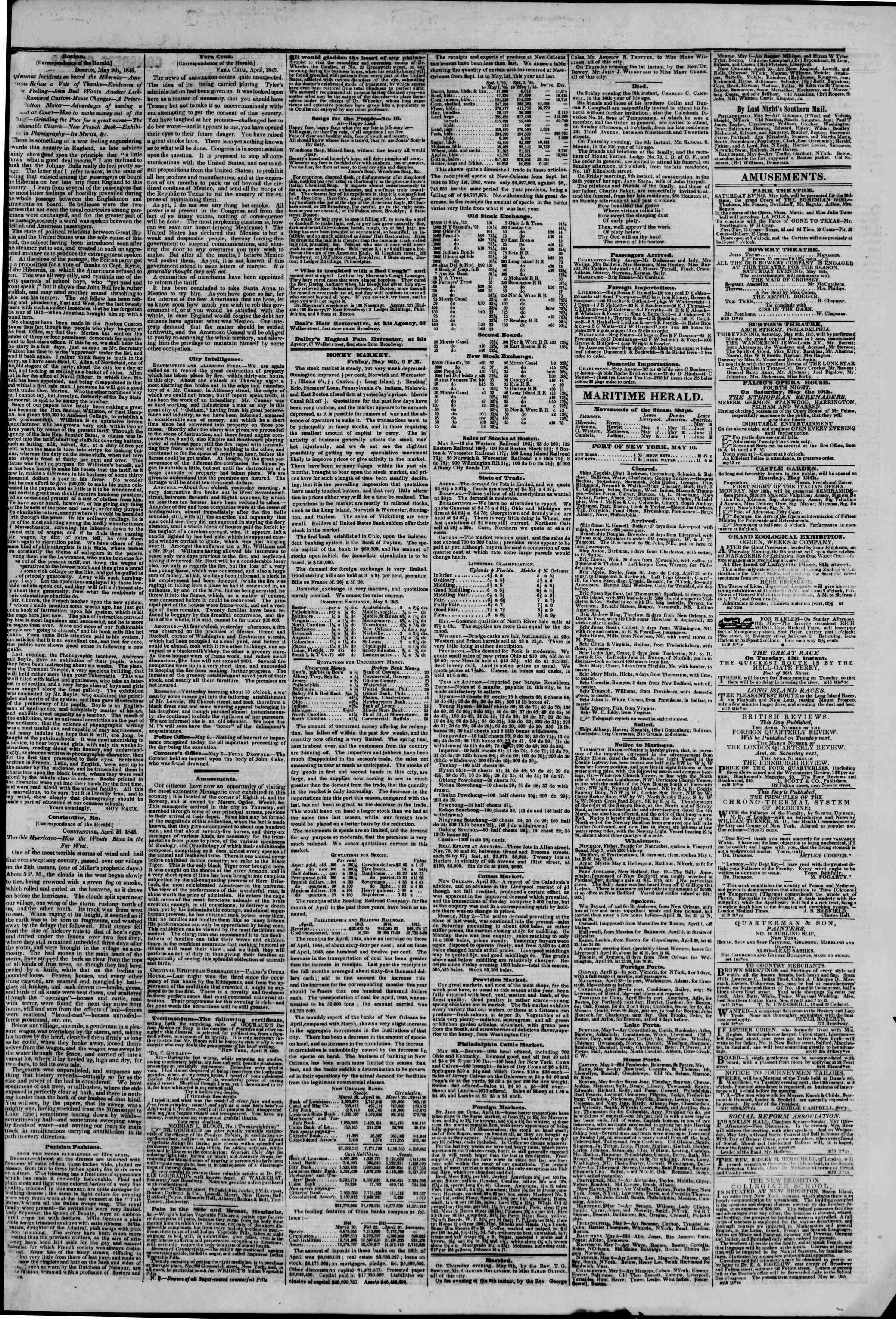 May 10, 1845 Tarihli The New York Herald Gazetesi Sayfa 3