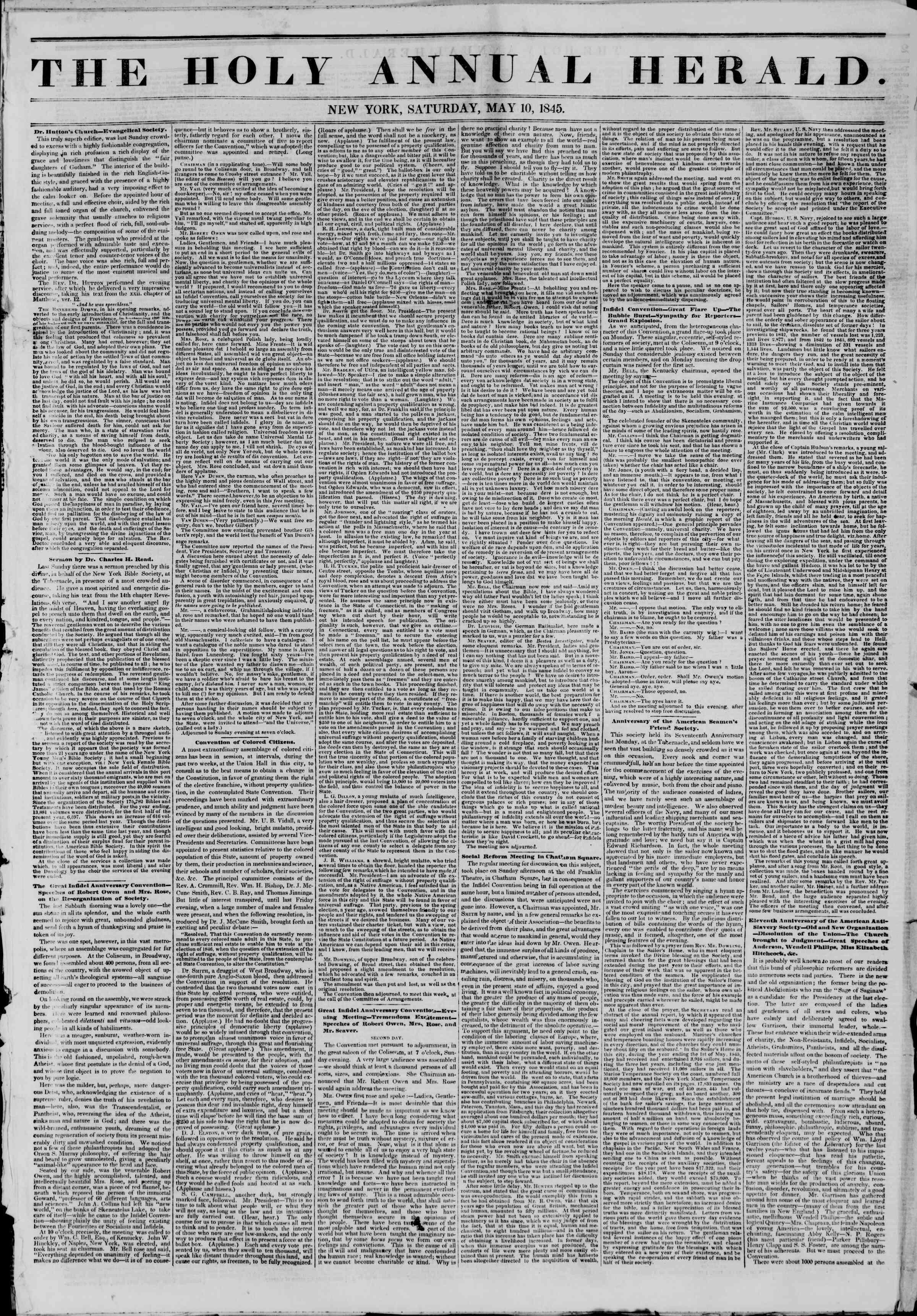 May 10, 1845 Tarihli The New York Herald Gazetesi Sayfa 5