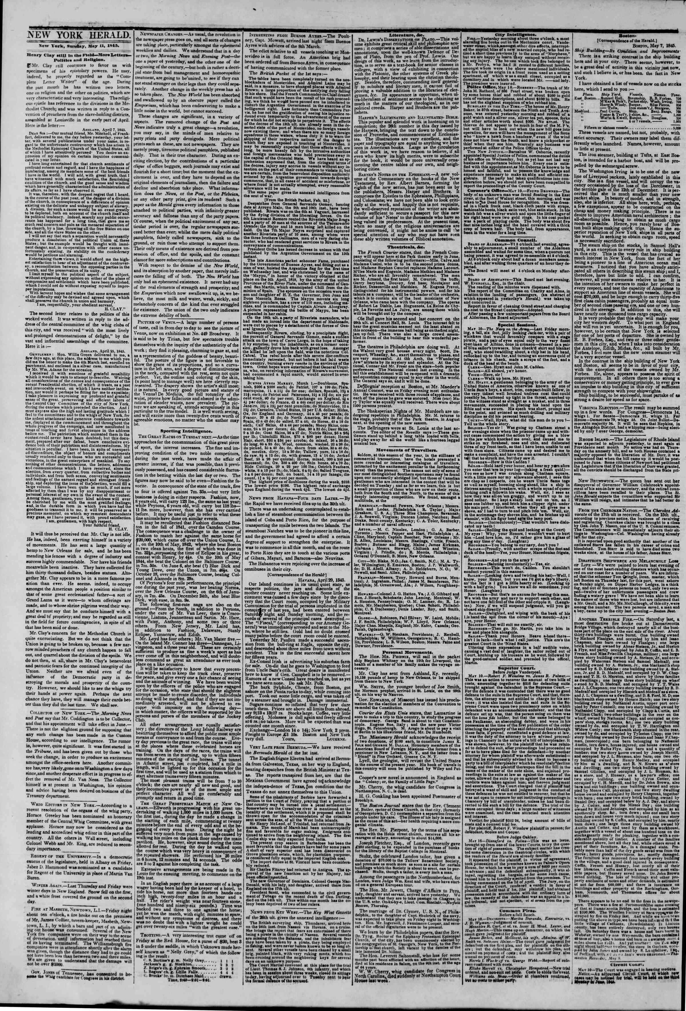 Newspaper of The New York Herald dated May 11, 1845 Page 2