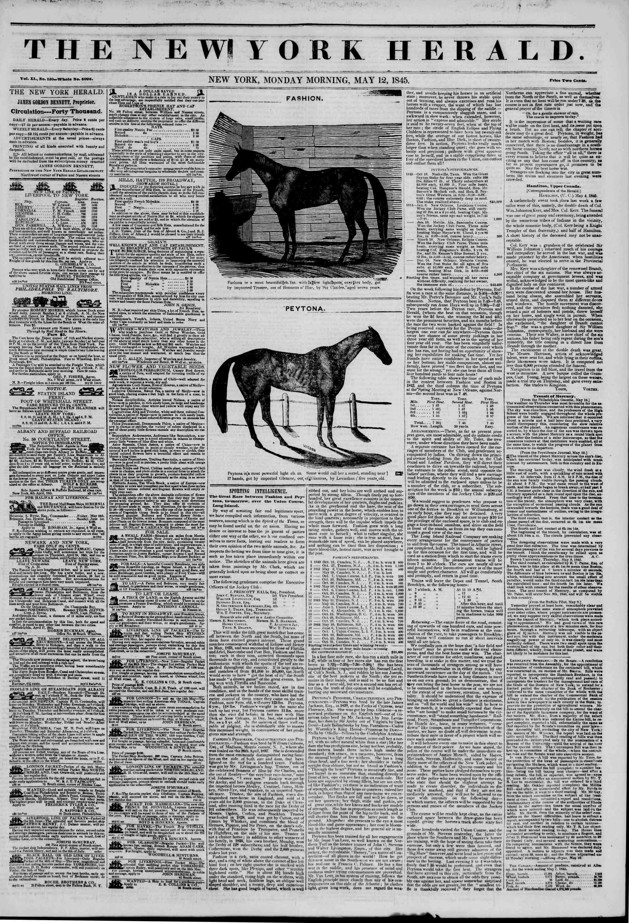 May 12, 1845 Tarihli The New York Herald Gazetesi Sayfa 1