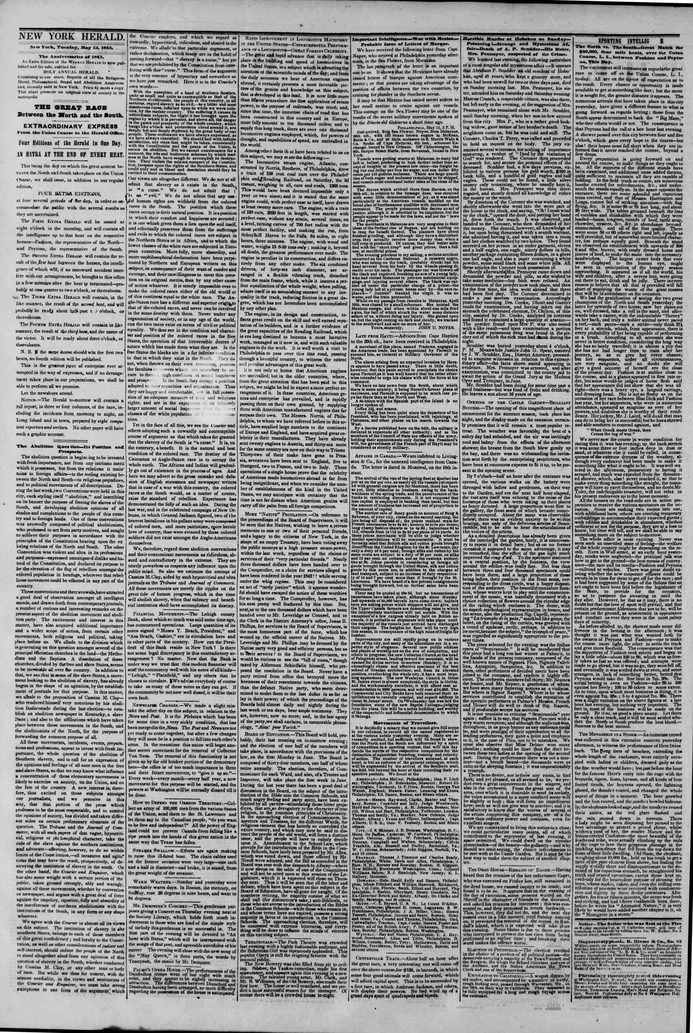 May 13, 1845 Tarihli The New York Herald Gazetesi Sayfa 2