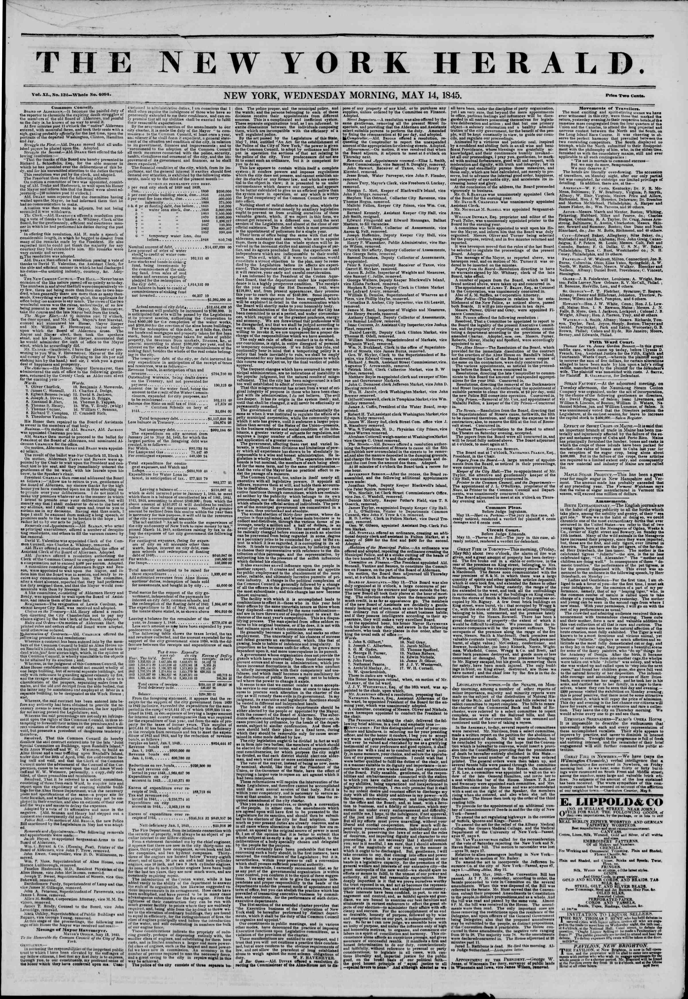Newspaper of The New York Herald dated May 14, 1845 Page 1