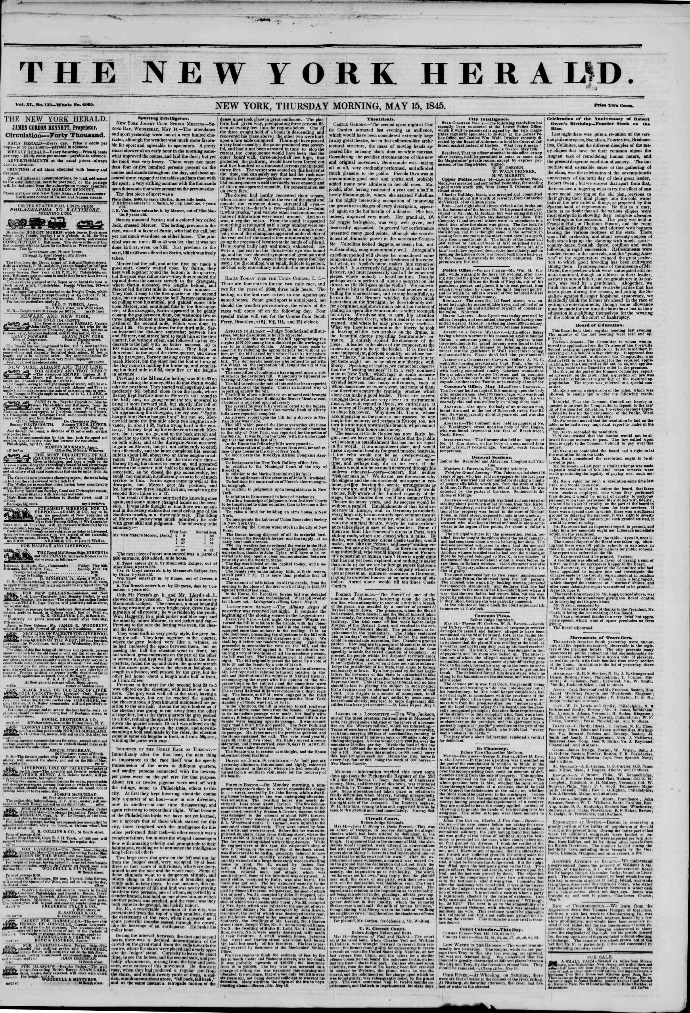 May 15, 1845 Tarihli The New York Herald Gazetesi Sayfa 1