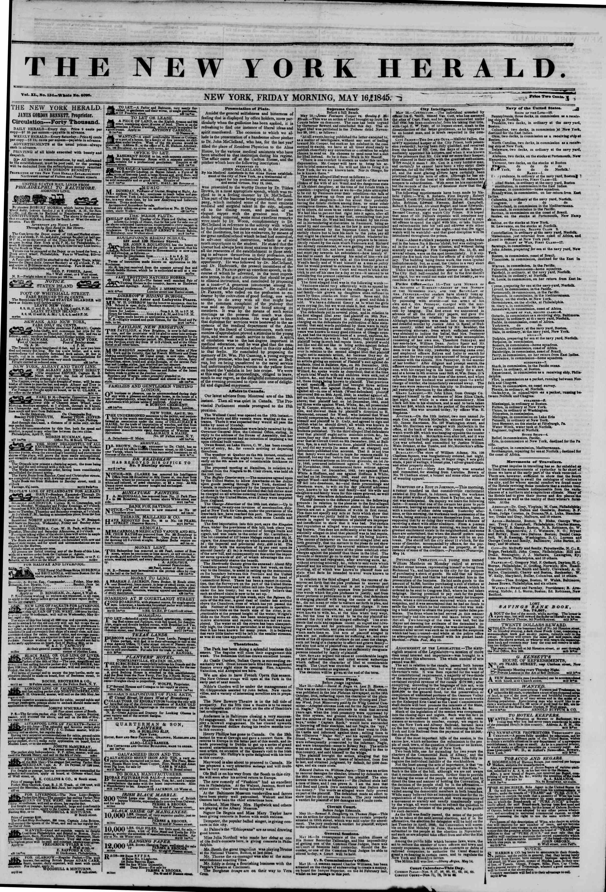 May 16, 1845 Tarihli The New York Herald Gazetesi Sayfa 1