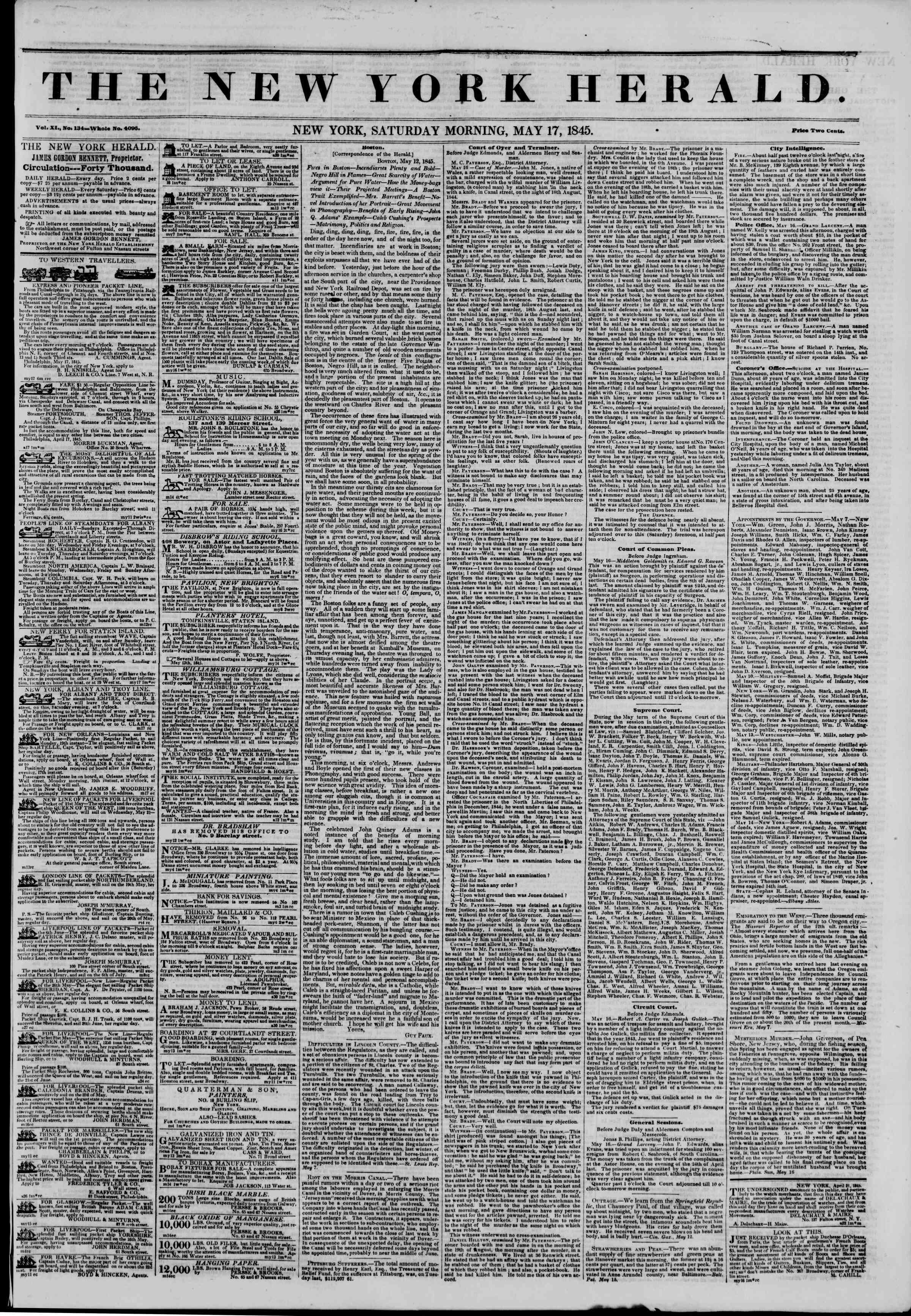 May 17, 1845 Tarihli The New York Herald Gazetesi Sayfa 1